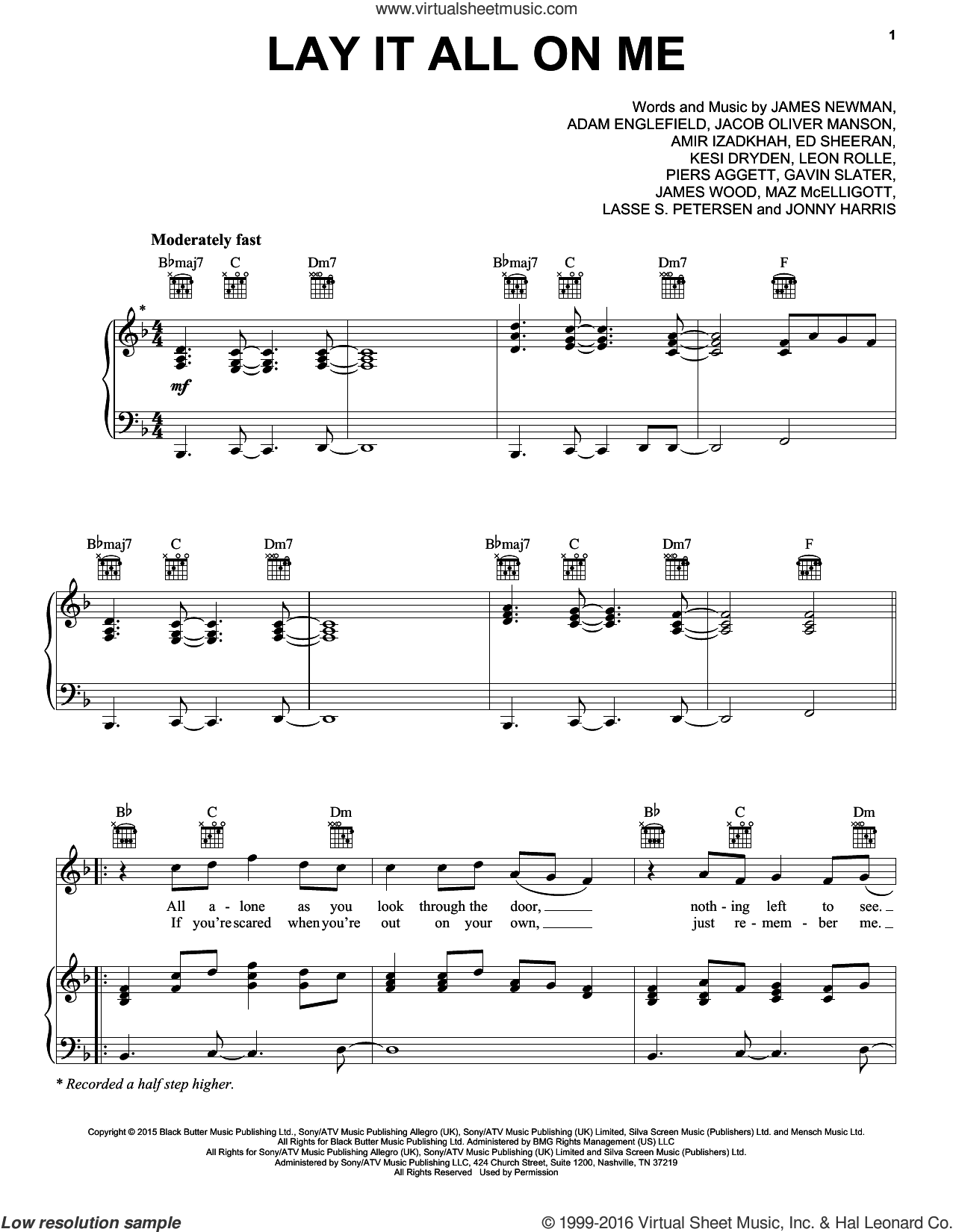 Lay It All On Me sheet music for voice, piano or guitar by Rudimental feat. Ed Sheeran, Adam Englefield, Amir Izadkhah, Ed Sheeran, Eddie Harris, Gavin Slater, Jacob Manson, James Newman, James Wood, Kesi Dryden, Lasse Petersen, Leon Rolle, Max McElligott and Piers Agget, intermediate skill level