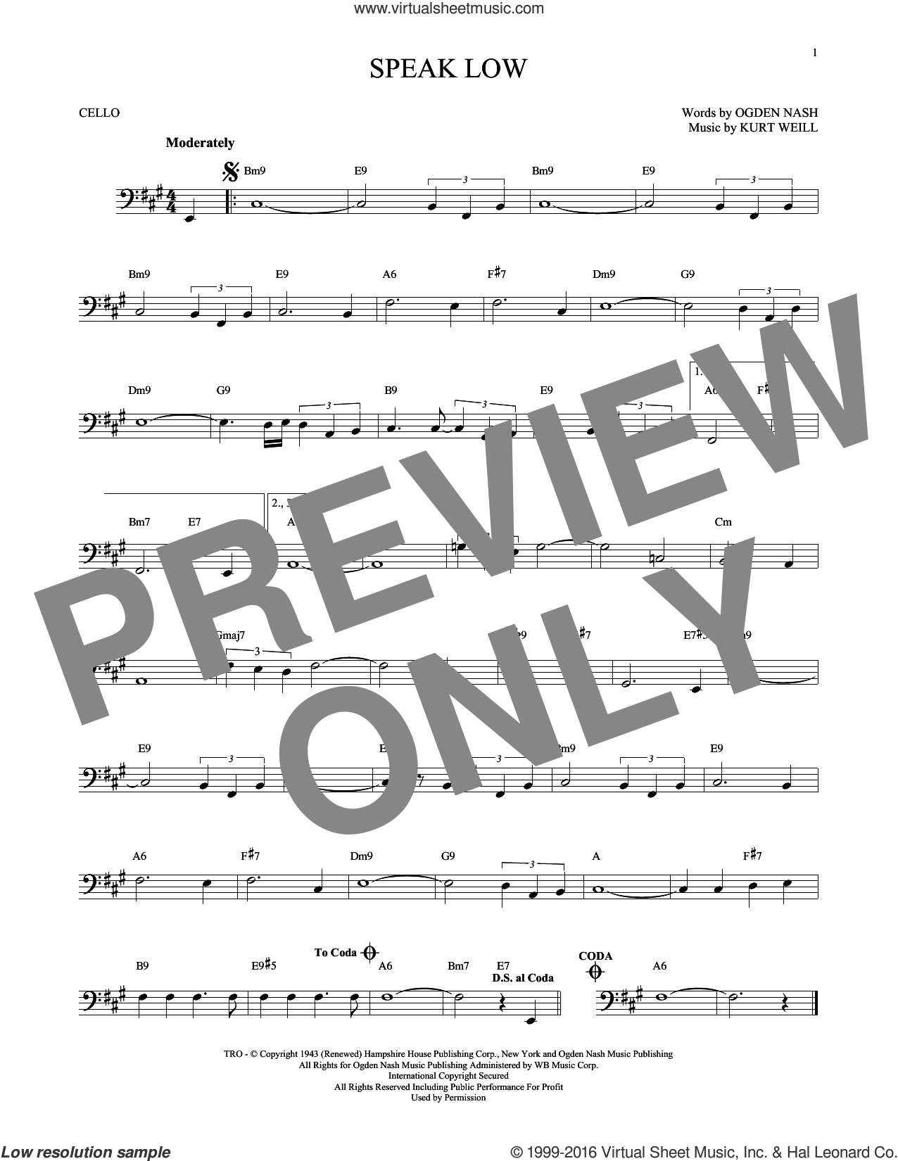 Speak Low sheet music for cello solo by Kurt Weill and Ogden Nash, intermediate. Score Image Preview.
