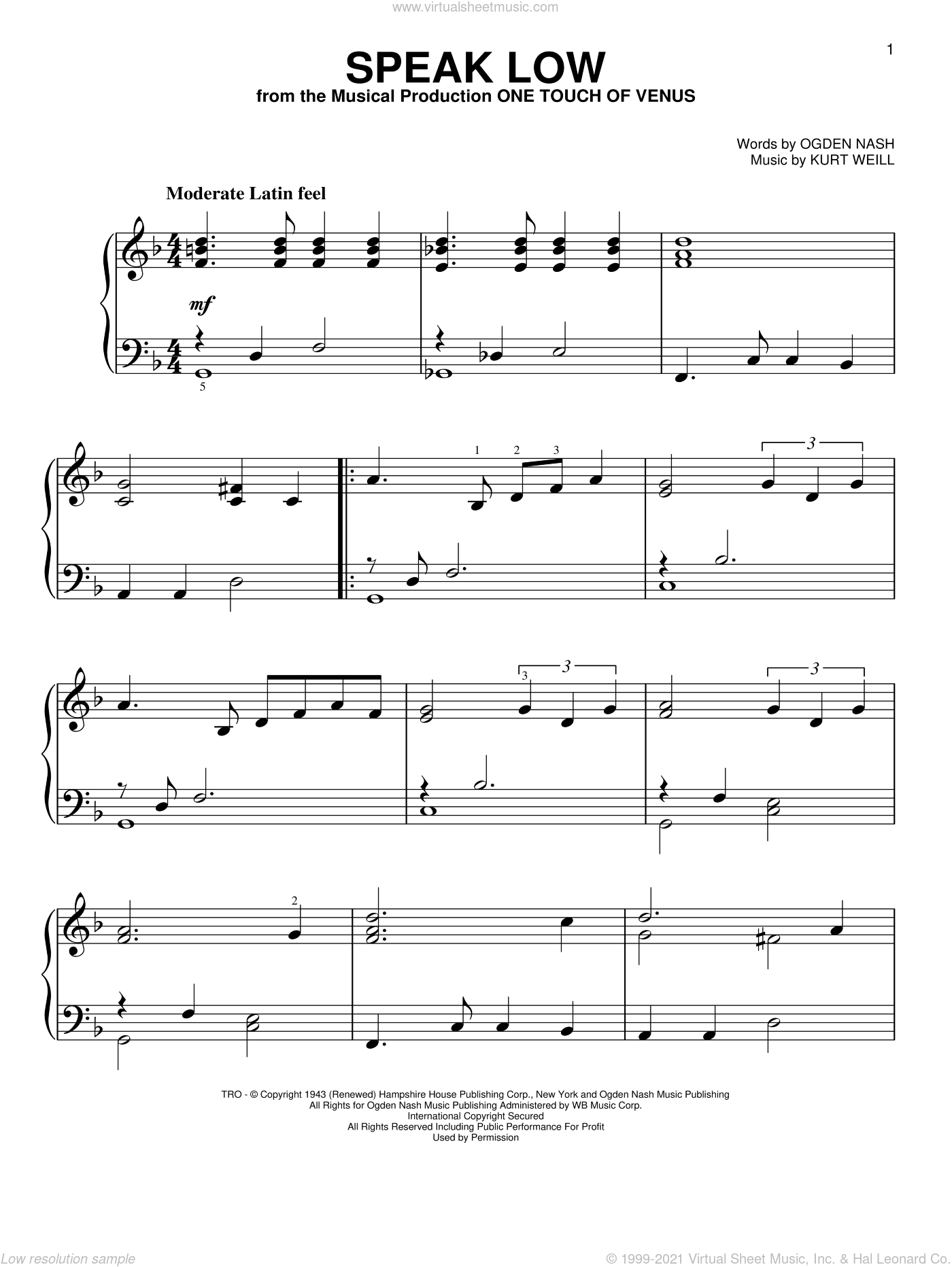 Speak Low sheet music for piano solo by Kurt Weill and Ogden Nash. Score Image Preview.