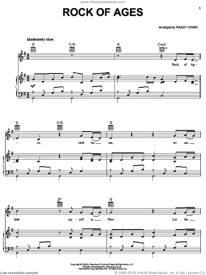 Rock Of Ages sheet music for voice, piano or guitar by Randy Owen and Alabama. Score Image Preview.
