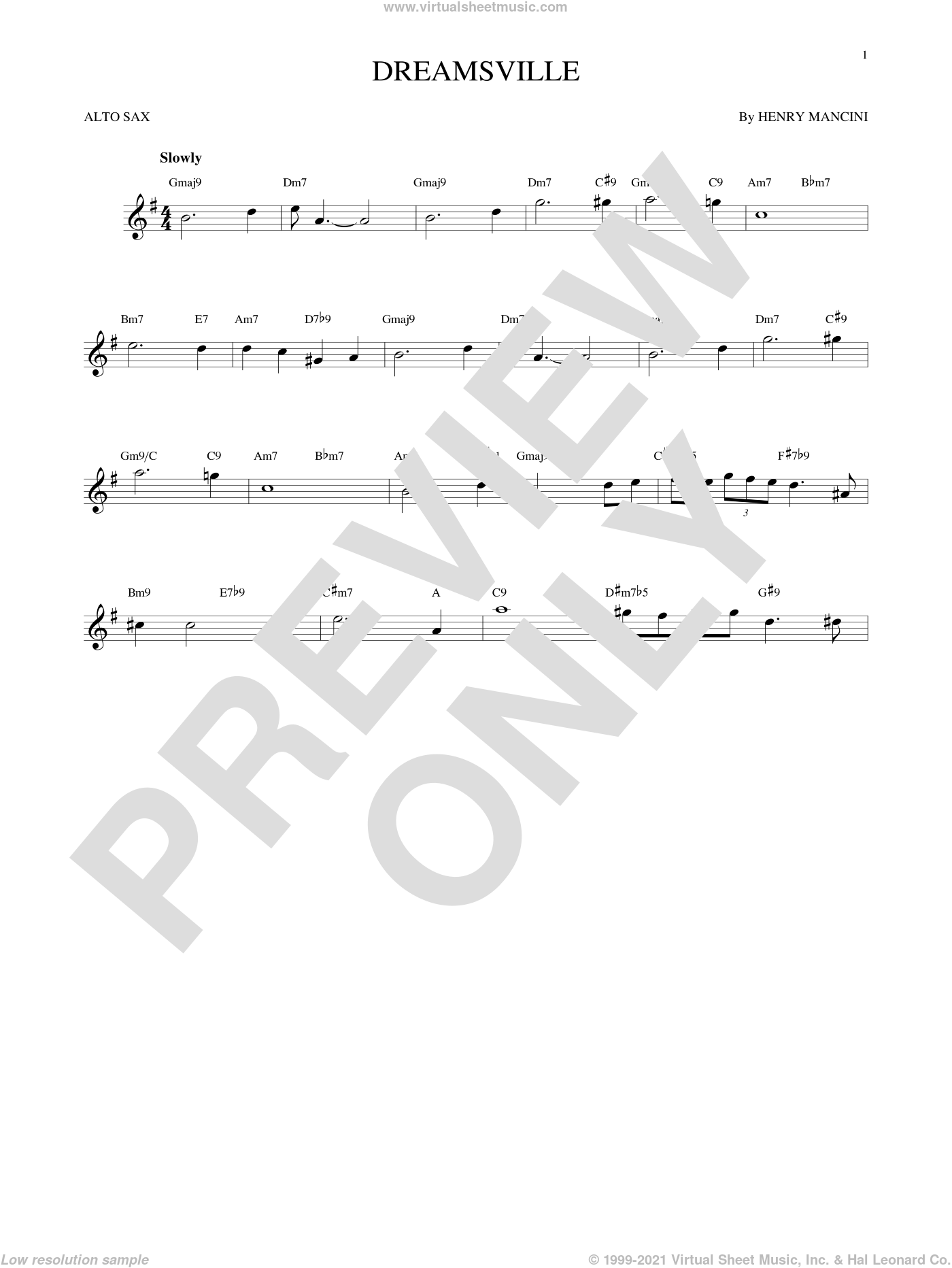 Dreamsville sheet music for alto saxophone solo by Henry Mancini. Score Image Preview.