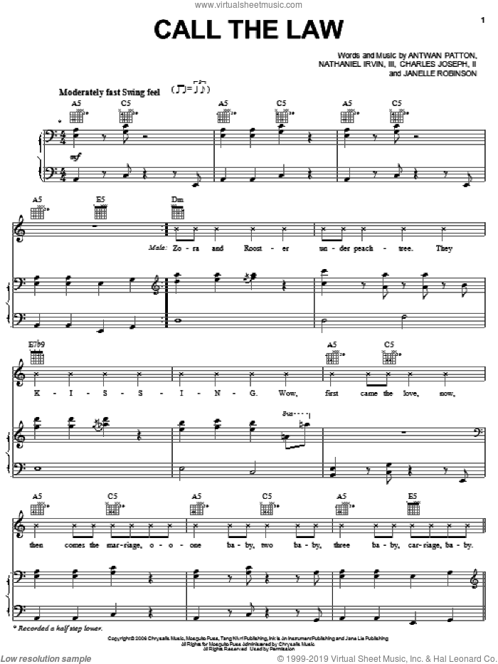 Call The Law sheet music for voice, piano or guitar by Nathaniel Irvin, OutKast and Antwan Patton. Score Image Preview.