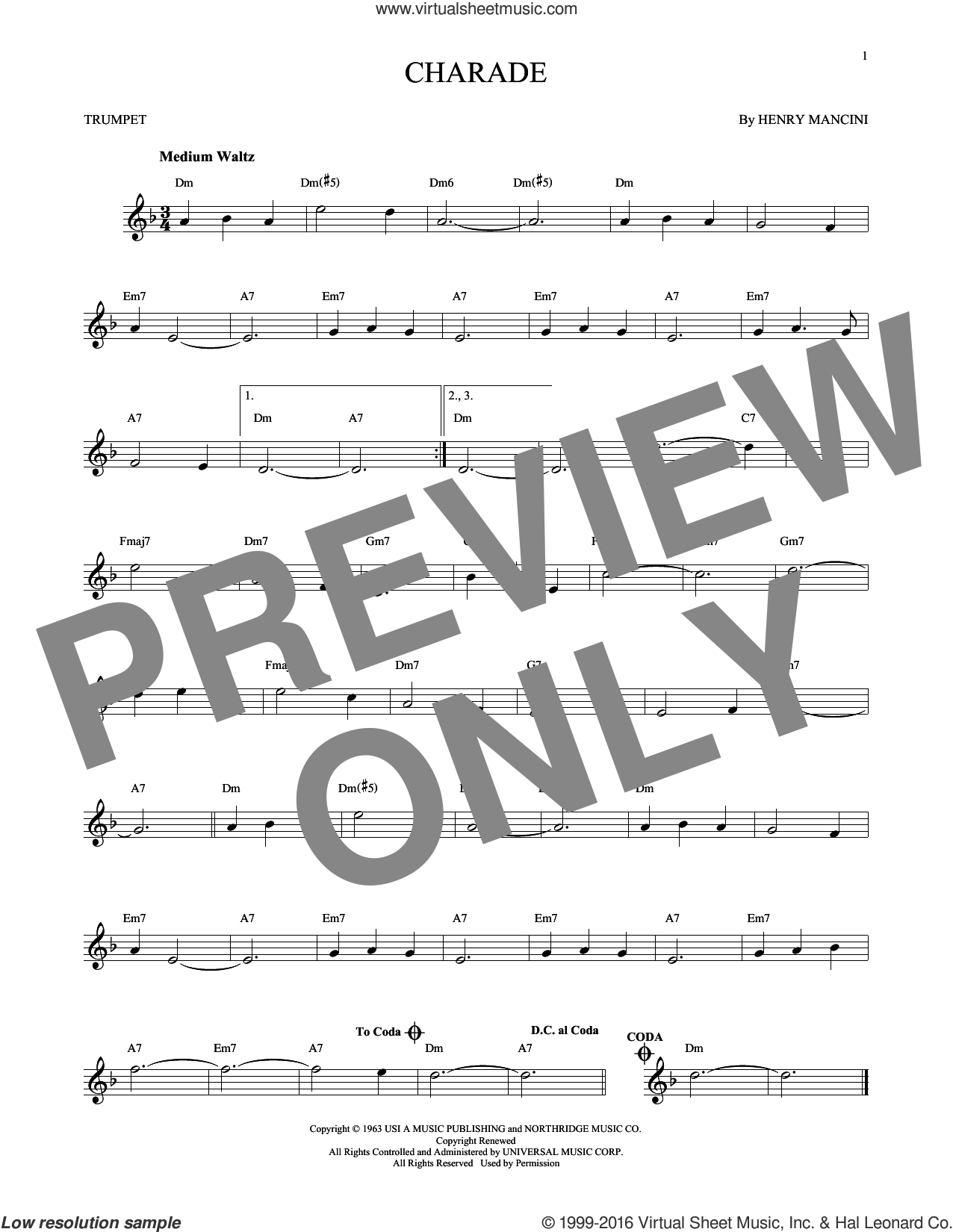 Charade sheet music for trumpet solo by Henry Mancini, intermediate trumpet. Score Image Preview.