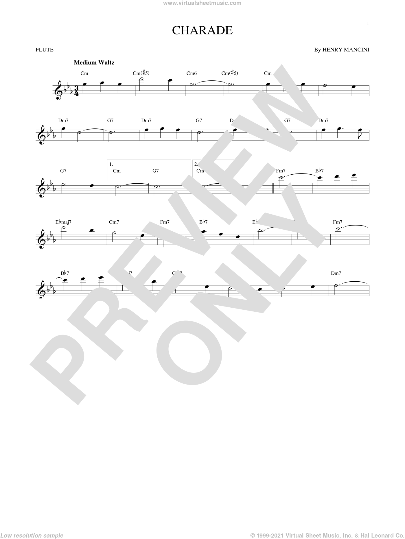 Charade sheet music for flute solo by Henry Mancini, intermediate flute. Score Image Preview.
