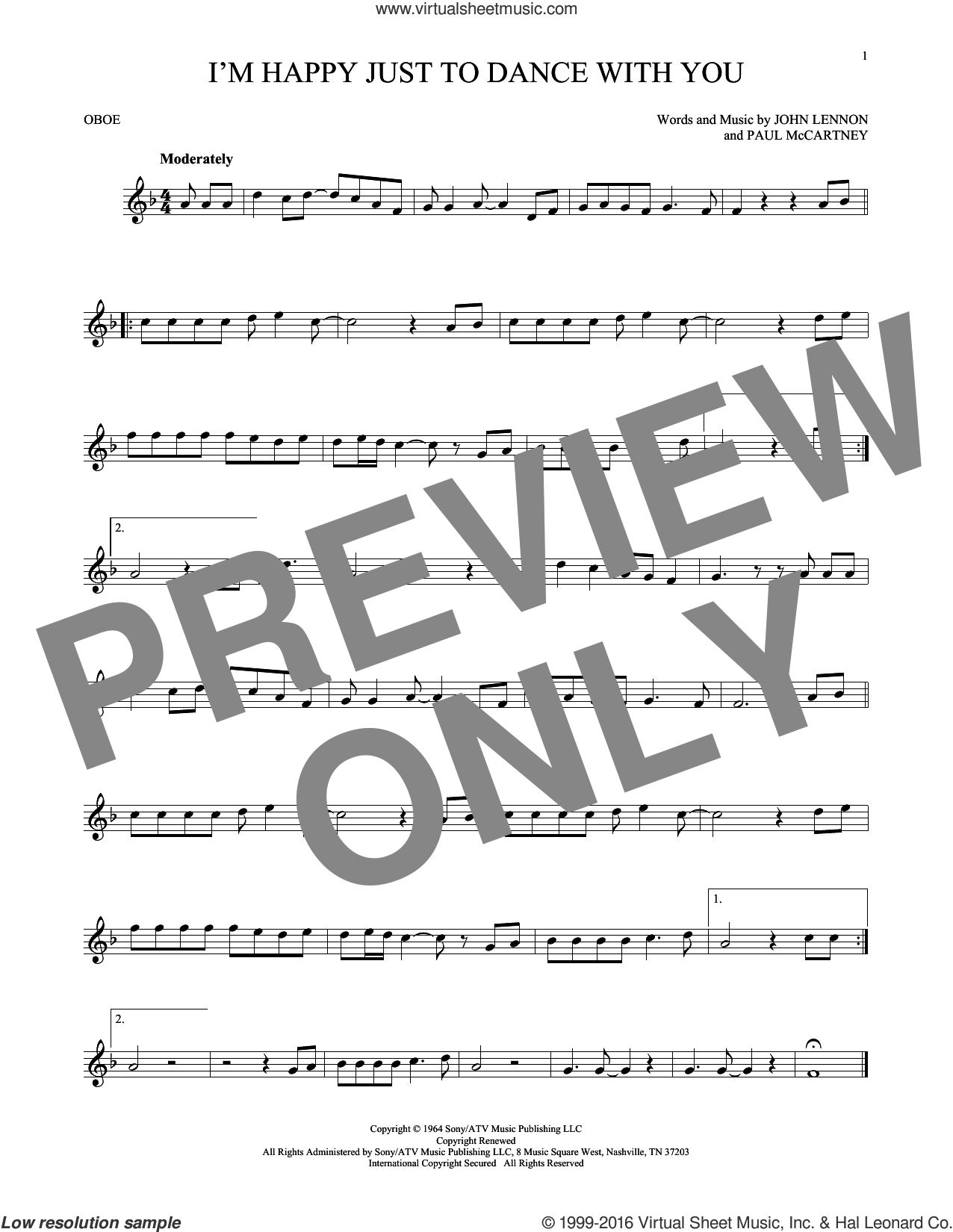 I'm Happy Just To Dance With You sheet music for oboe solo by The Beatles, John Lennon and Paul McCartney, intermediate oboe. Score Image Preview.