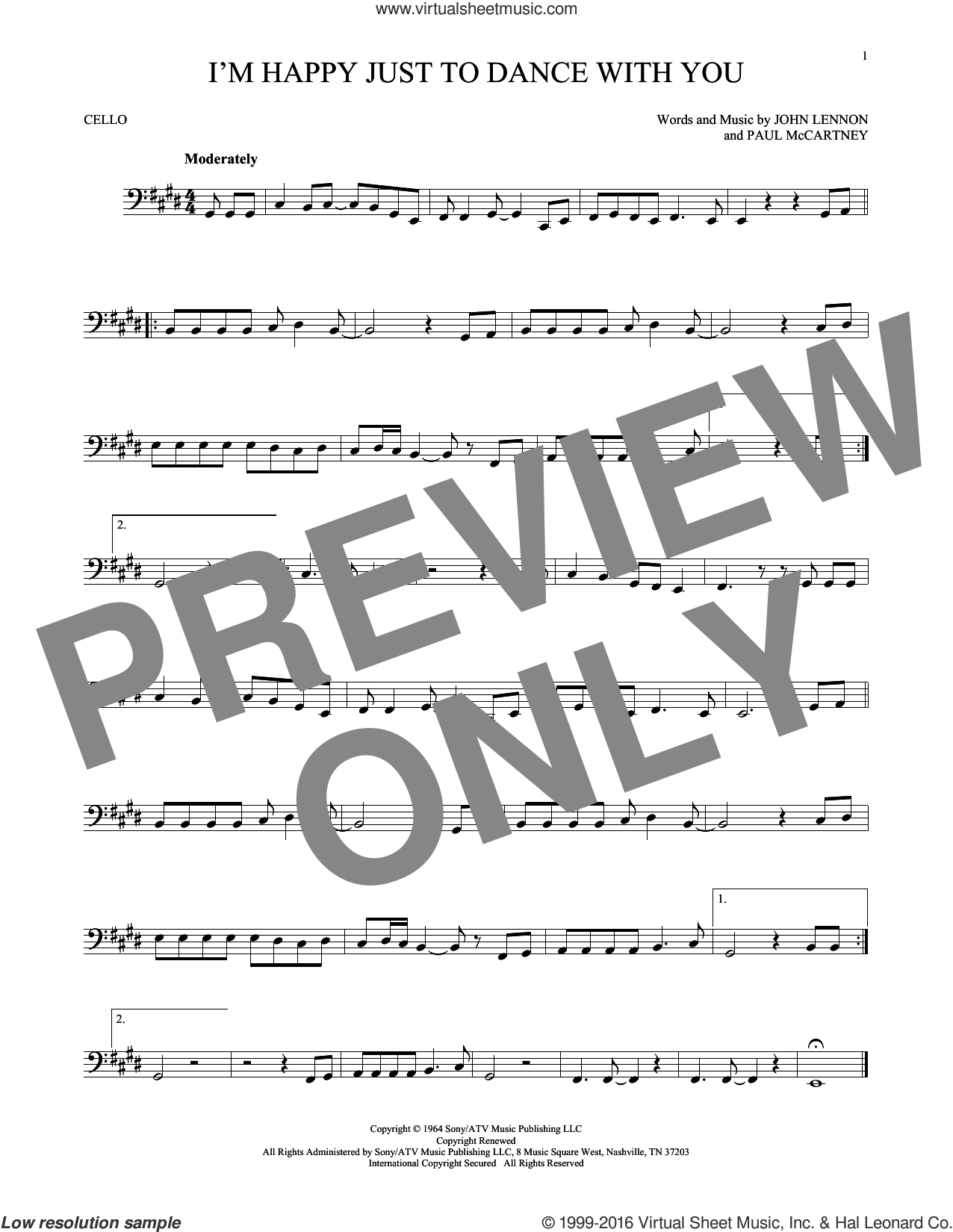 I'm Happy Just To Dance With You sheet music for cello solo by Paul McCartney, The Beatles and John Lennon. Score Image Preview.