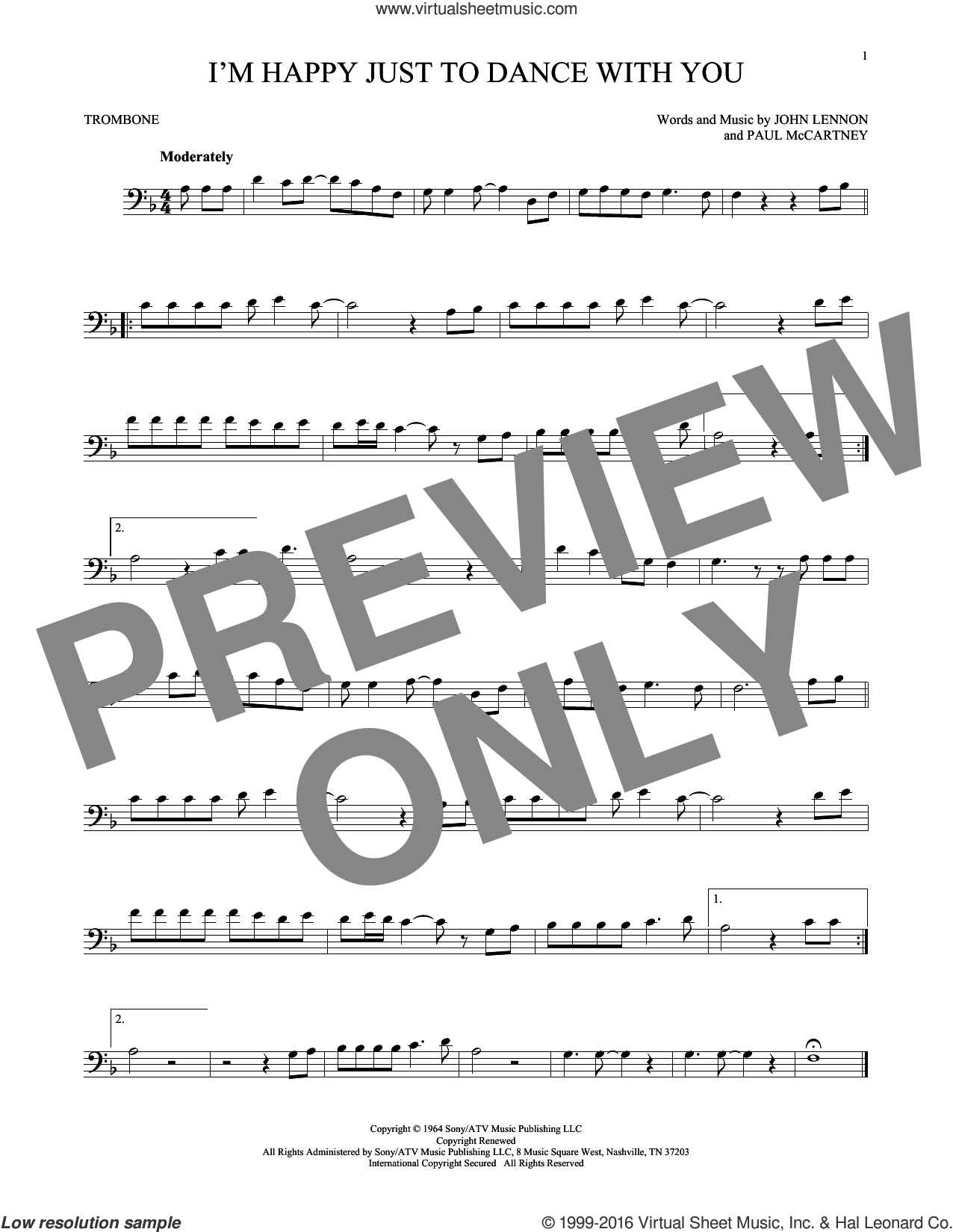 I'm Happy Just To Dance With You sheet music for trombone solo by Paul McCartney, The Beatles and John Lennon. Score Image Preview.