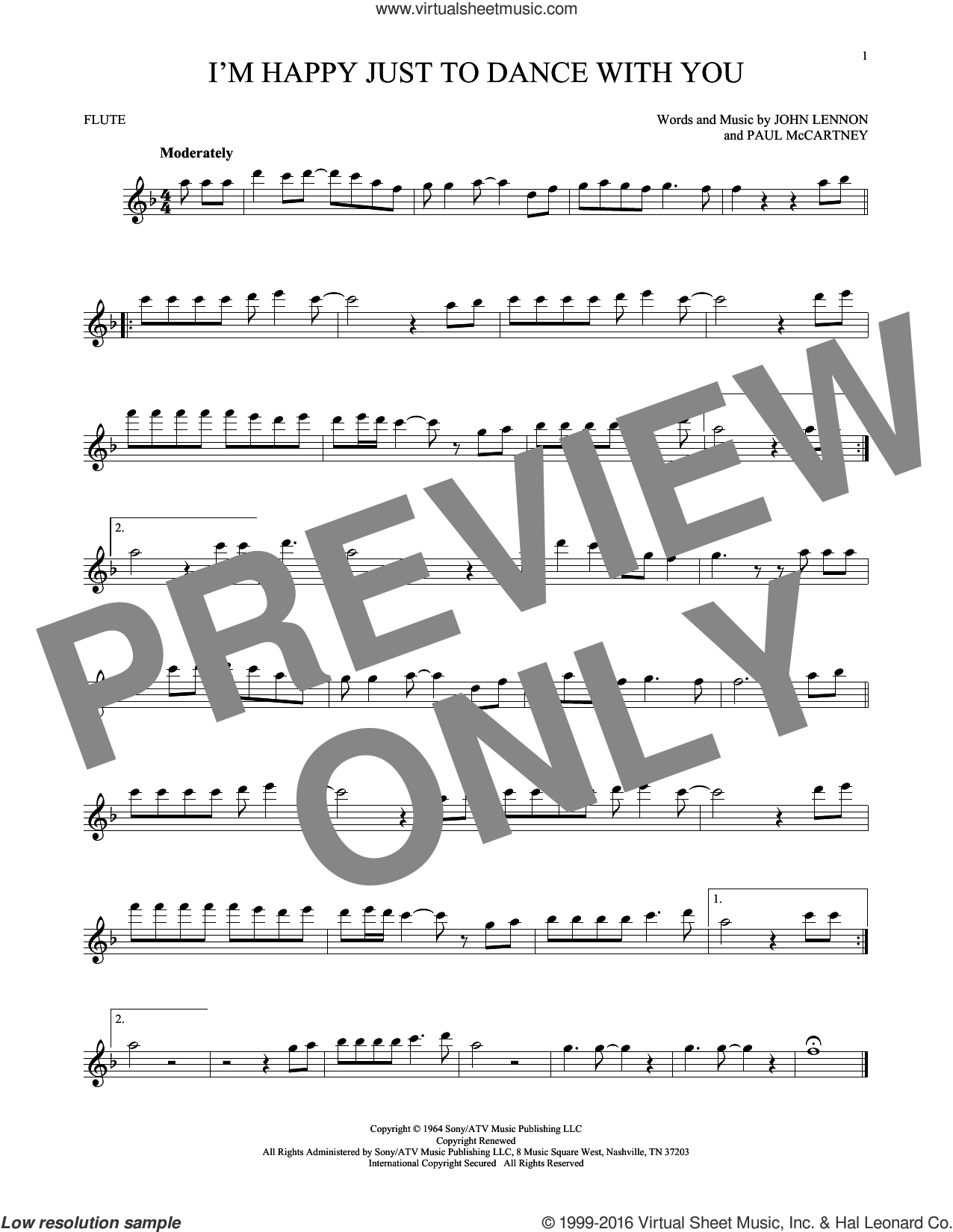 I'm Happy Just To Dance With You sheet music for flute solo by Paul McCartney, The Beatles and John Lennon. Score Image Preview.