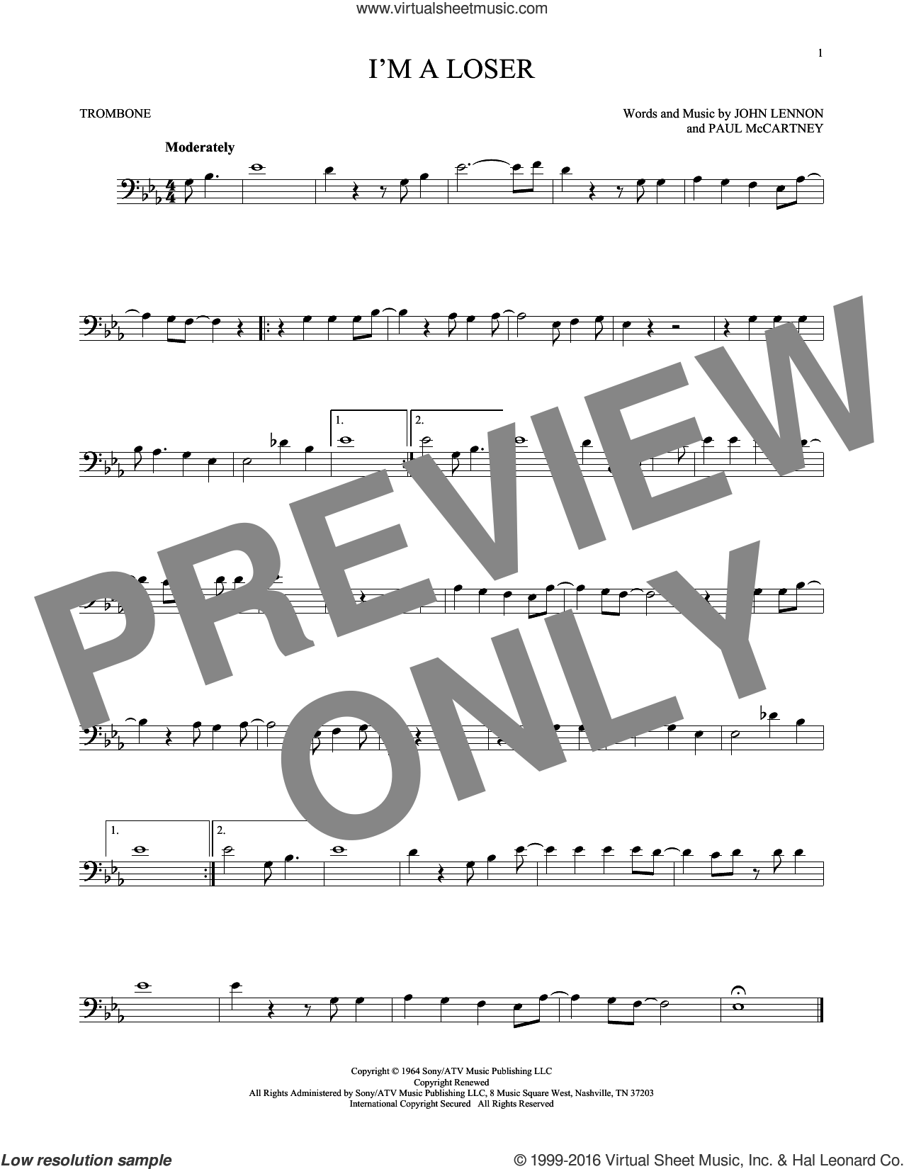 I'm A Loser sheet music for trombone solo by Paul McCartney, The Beatles and John Lennon. Score Image Preview.