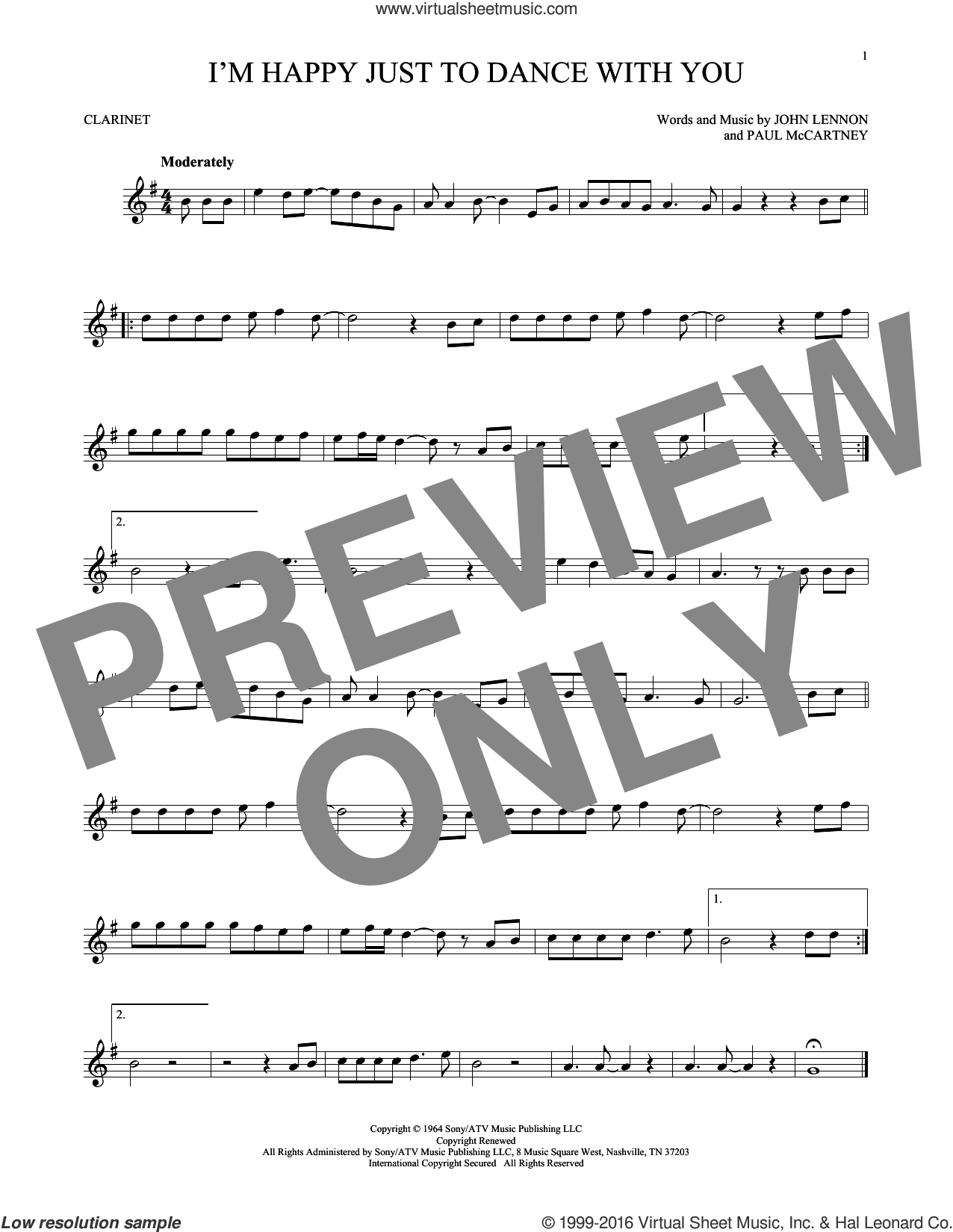 I'm Happy Just To Dance With You sheet music for clarinet solo by The Beatles, John Lennon and Paul McCartney, intermediate skill level