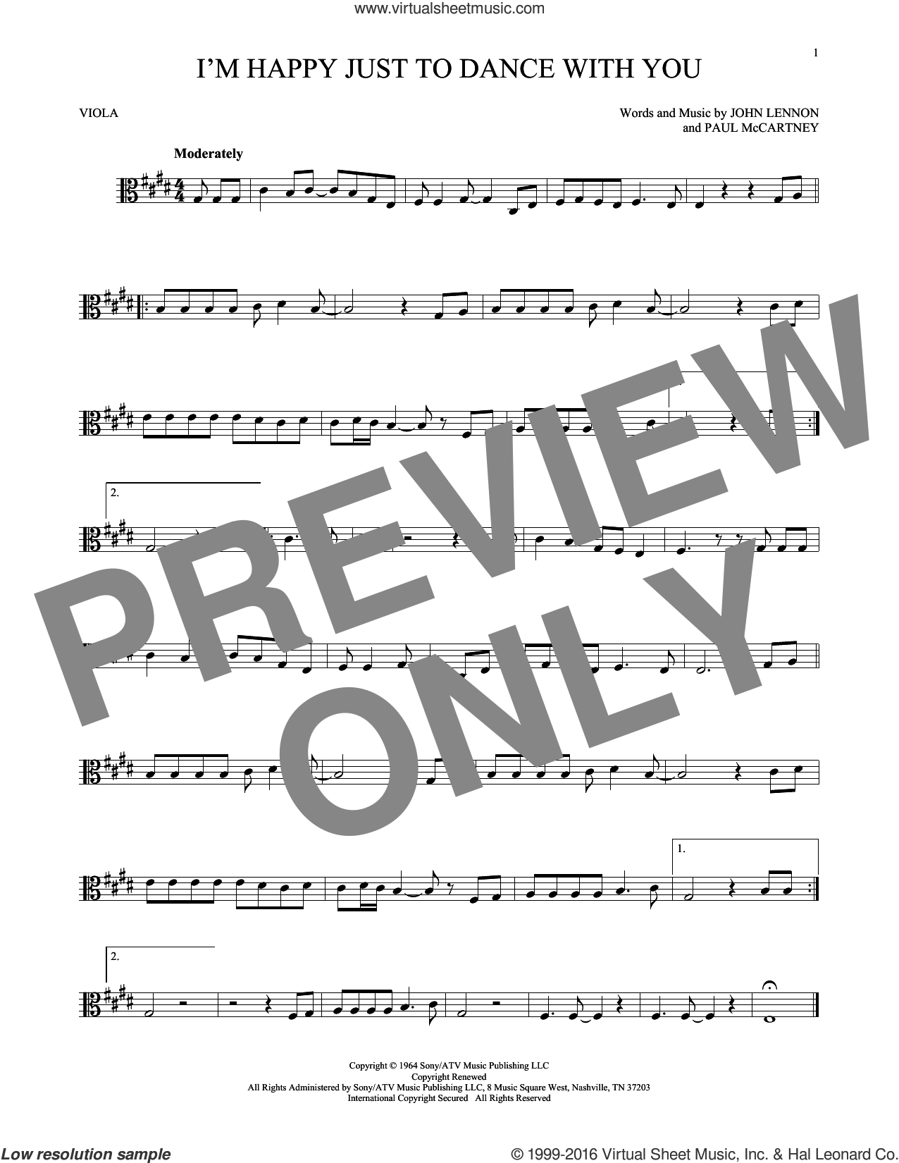 I'm Happy Just To Dance With You sheet music for viola solo by The Beatles, John Lennon and Paul McCartney, intermediate skill level