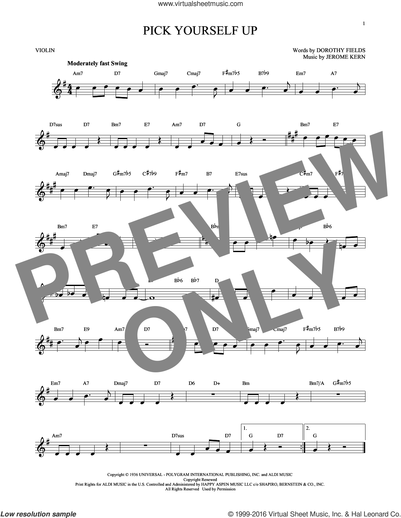 Pick Yourself Up sheet music for violin solo by Dorothy Fields and Jerome Kern. Score Image Preview.