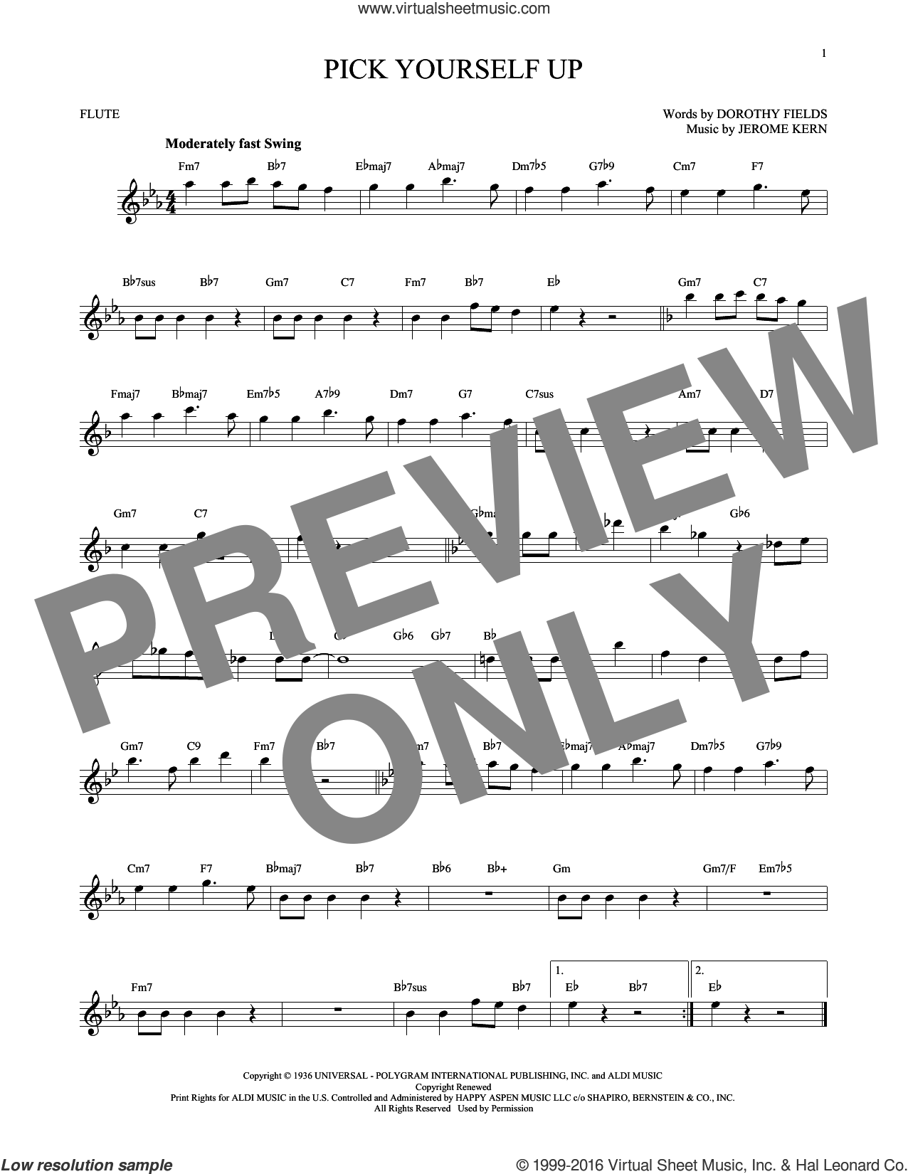 Pick Yourself Up sheet music for flute solo by Jerome Kern and Dorothy Fields. Score Image Preview.