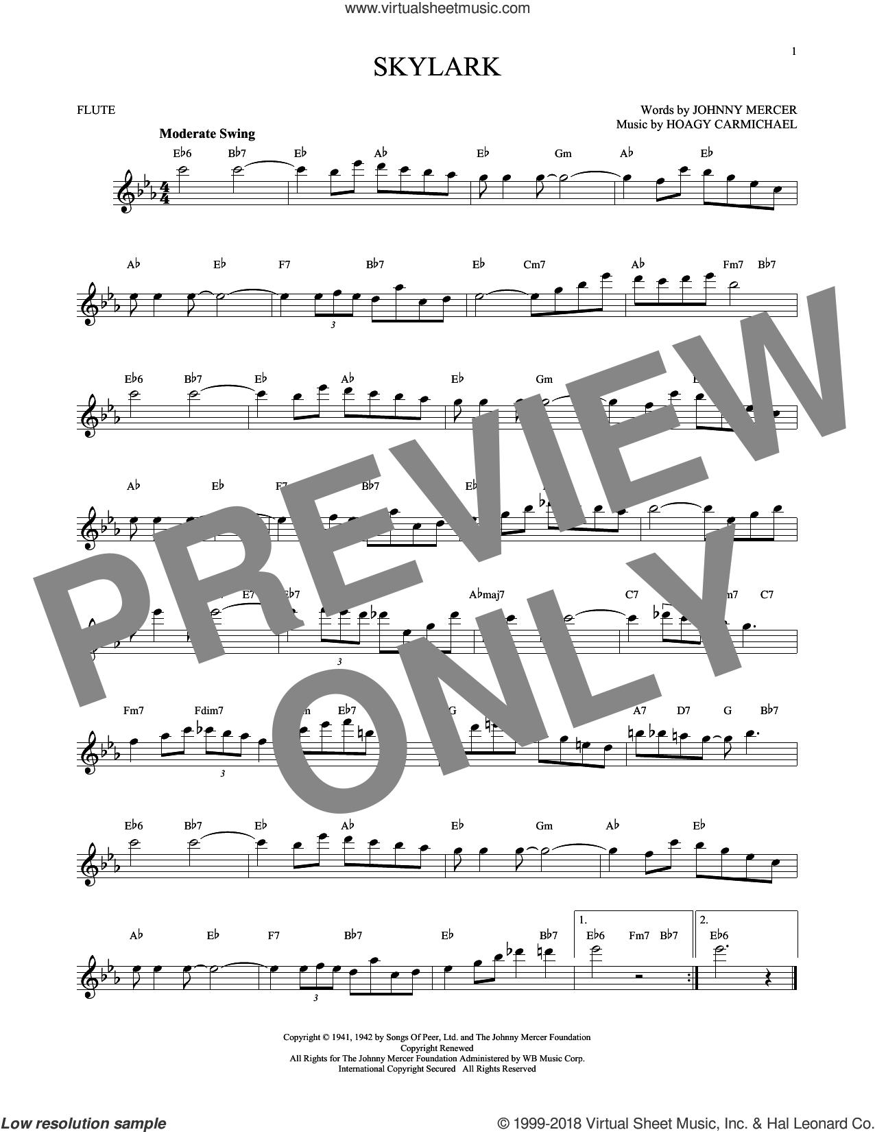 Skylark sheet music for flute solo by Hoagy Carmichael and Johnny Mercer, intermediate skill level