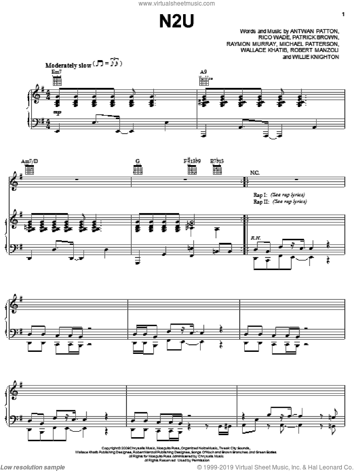 N2U sheet music for voice, piano or guitar by OutKast, Antwan Patton, Michael Patterson, Patrick Brown, Raymon Murray, Rico Wade, Robert Manzoli, Wallace Khatib and Willie Knighton, intermediate. Score Image Preview.