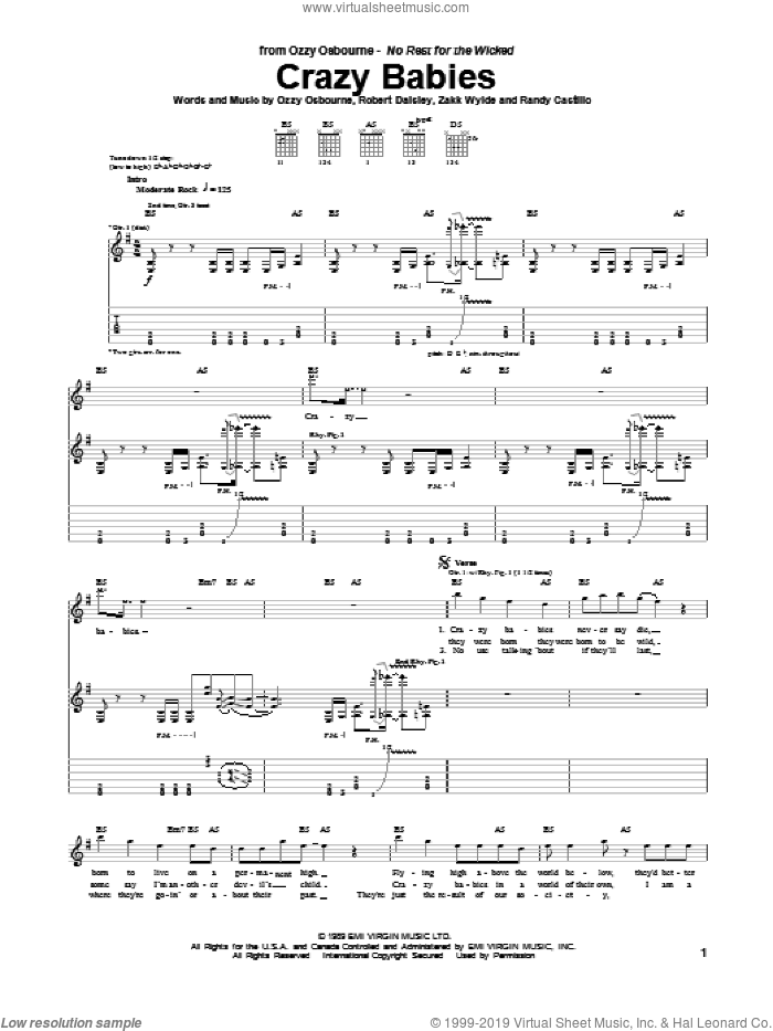 Crazy Babies sheet music for guitar (tablature) by Randy Castillo and Ozzy Osbourne. Score Image Preview.