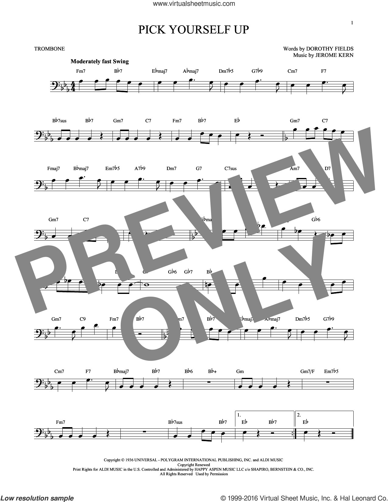 Pick Yourself Up sheet music for trombone solo by Dorothy Fields and Jerome Kern. Score Image Preview.