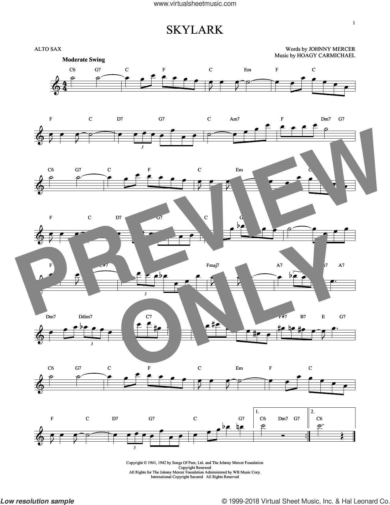 Skylark sheet music for alto saxophone solo by Hoagy Carmichael and Johnny Mercer, intermediate skill level