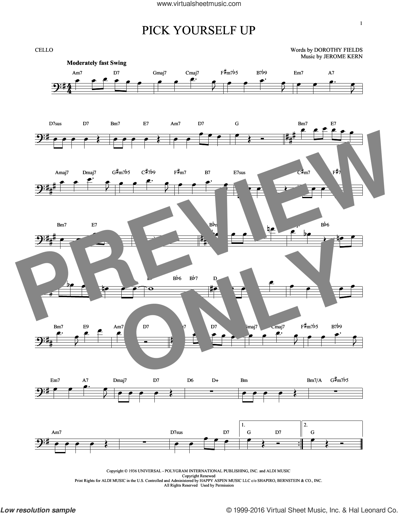 Pick Yourself Up sheet music for cello solo by Dorothy Fields and Jerome Kern. Score Image Preview.