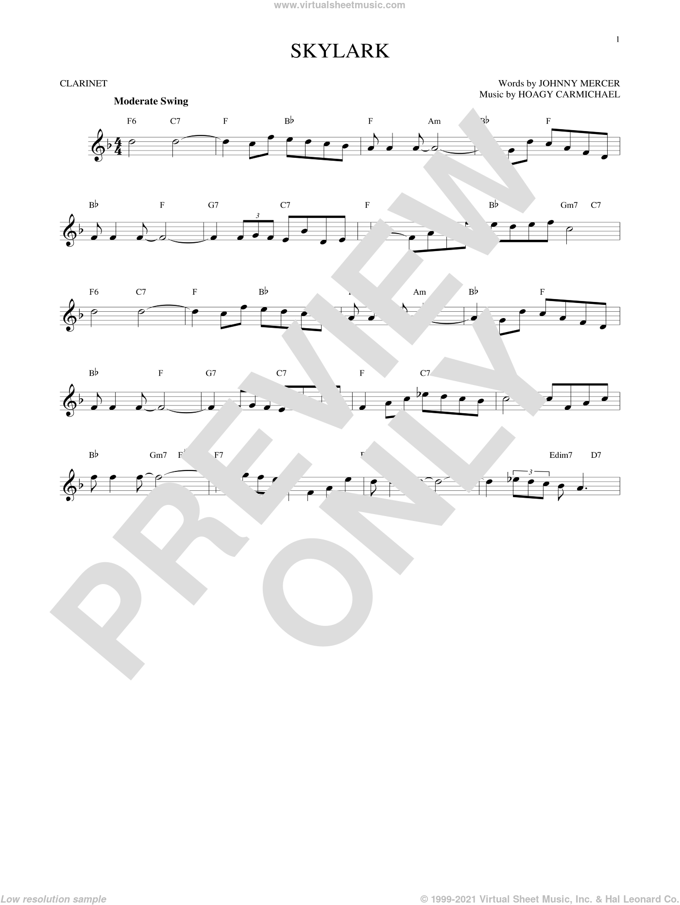 Skylark sheet music for clarinet solo by Hoagy Carmichael and Johnny Mercer, intermediate skill level