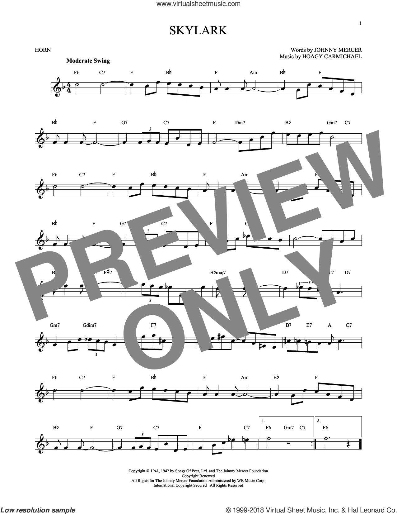 Skylark sheet music for horn solo by Hoagy Carmichael and Johnny Mercer, intermediate skill level