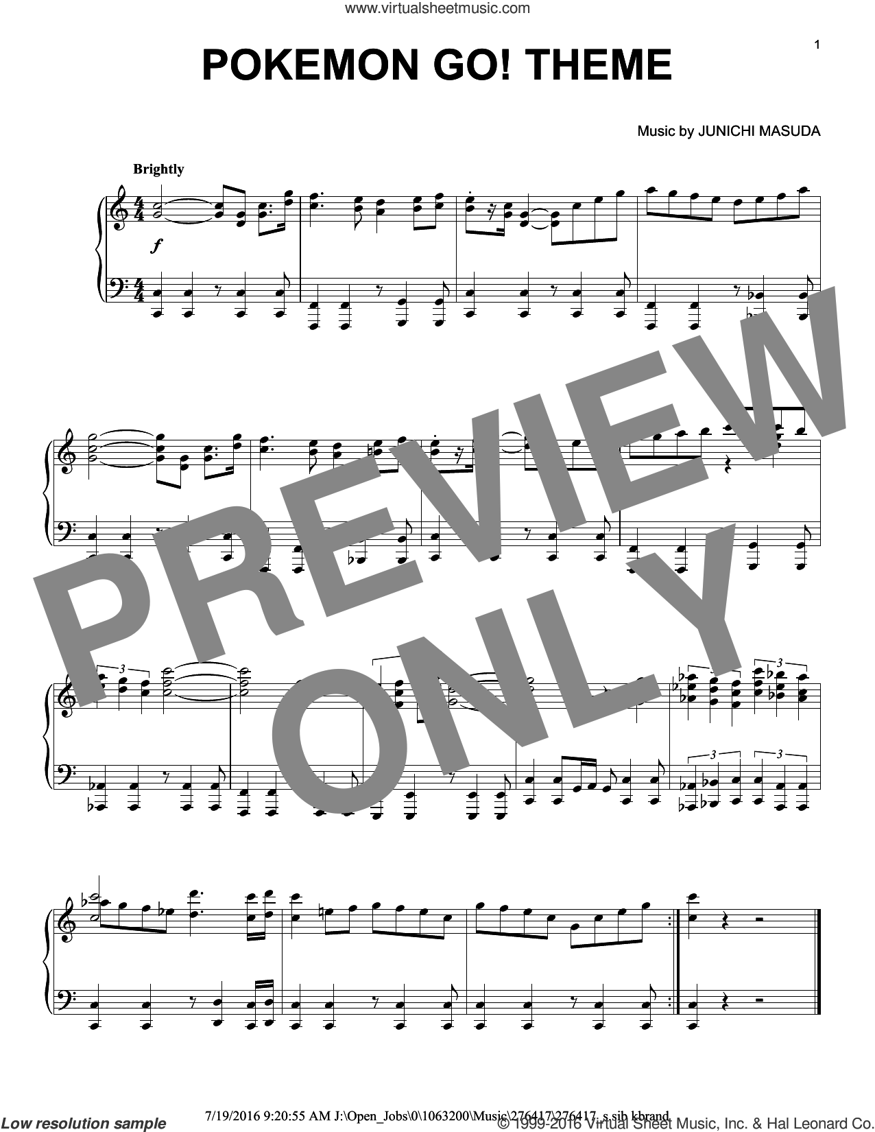 Pokemon Go! Theme sheet music for piano solo by Junichi Masuda, intermediate skill level
