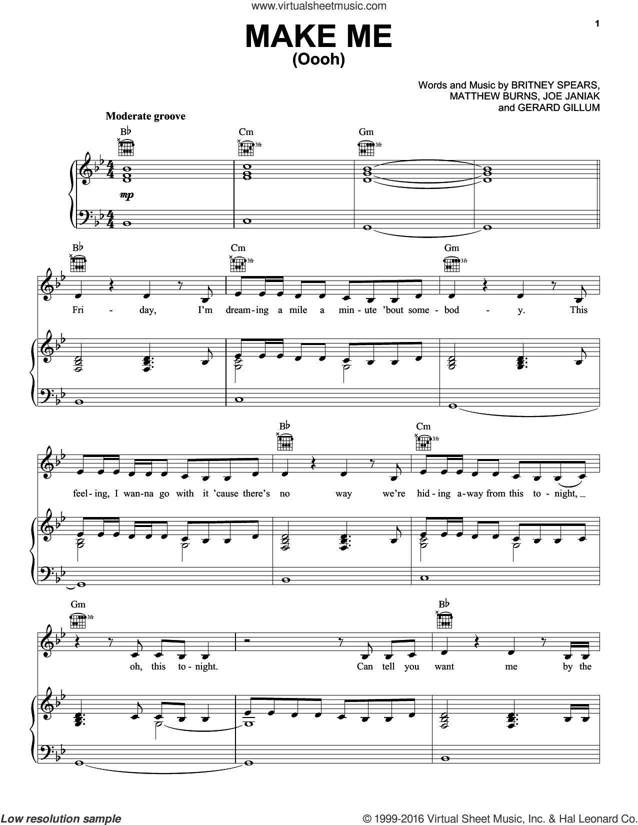 Make Me (Oooh) sheet music for voice, piano or guitar by Britney Spears feat. G-Eazy, G-Eazy, Britney Spears, Gerard Gillum, Joe Janiak and Matthew Burns, intermediate skill level
