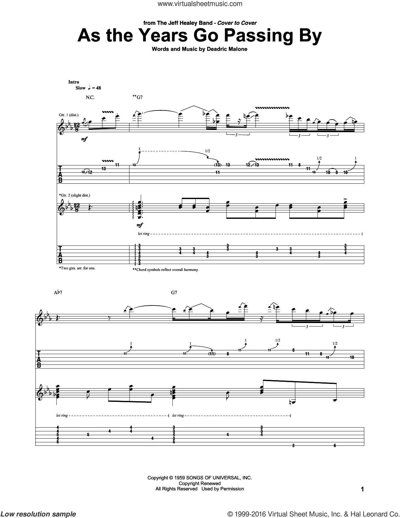 As The Years Go Passing By sheet music for guitar (tablature) by Deadric Malone and Jeff Healey Band, intermediate skill level