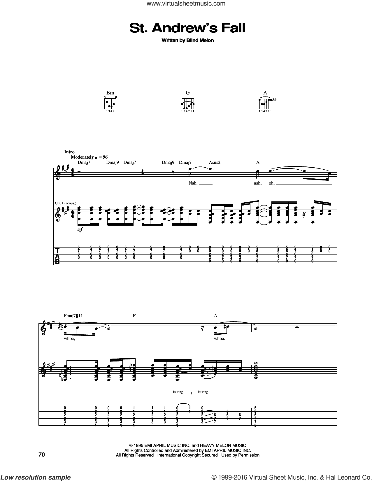 St. Andrew's Fall sheet music for guitar (tablature) by Blind Melon. Score Image Preview.