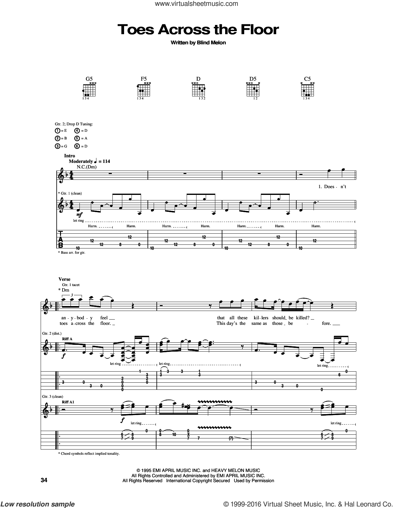 Toes Across The Floor sheet music for guitar (tablature) by Blind Melon. Score Image Preview.