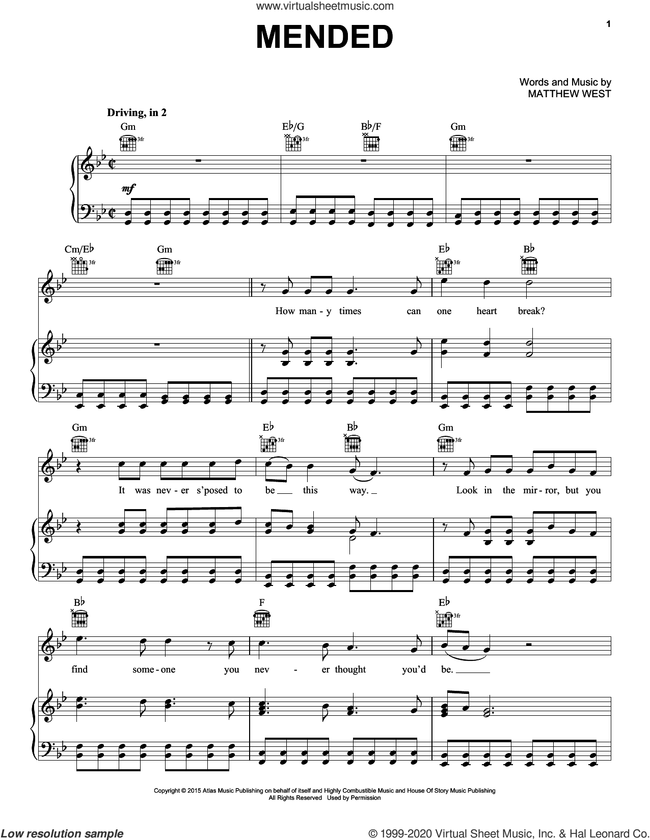 Mended sheet music for voice, piano or guitar by Matthew West, intermediate skill level