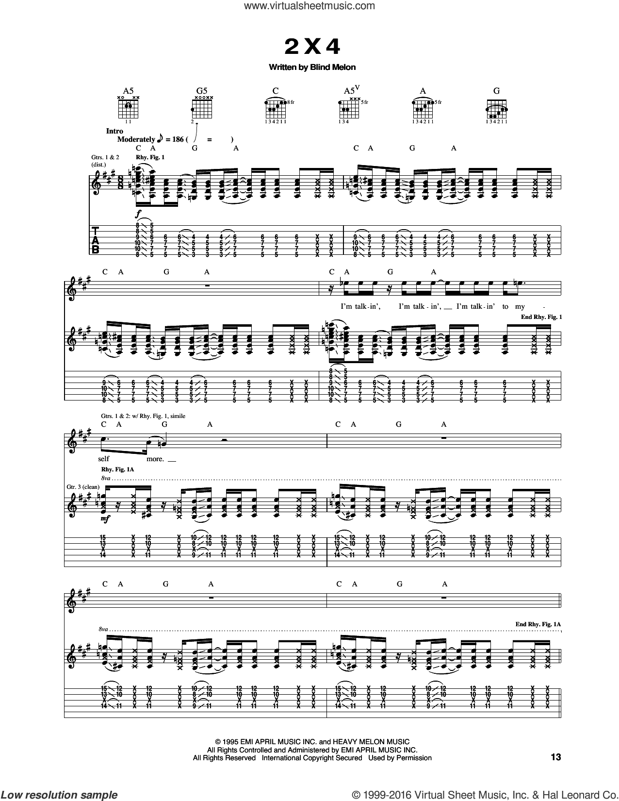 2 X 4 sheet music for guitar (tablature) by Blind Melon. Score Image Preview.