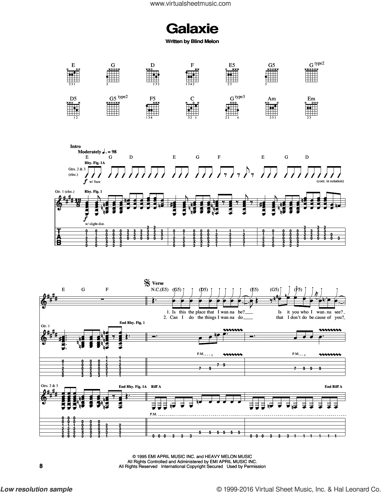 Galaxie sheet music for guitar (tablature) by Blind Melon, intermediate guitar (tablature). Score Image Preview.