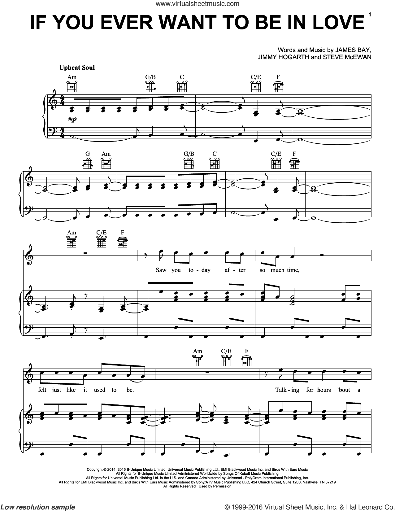 If You Ever Want To Be In Love sheet music for voice, piano or guitar by James Bay, James Hogarth and Steve McEwan, intermediate skill level