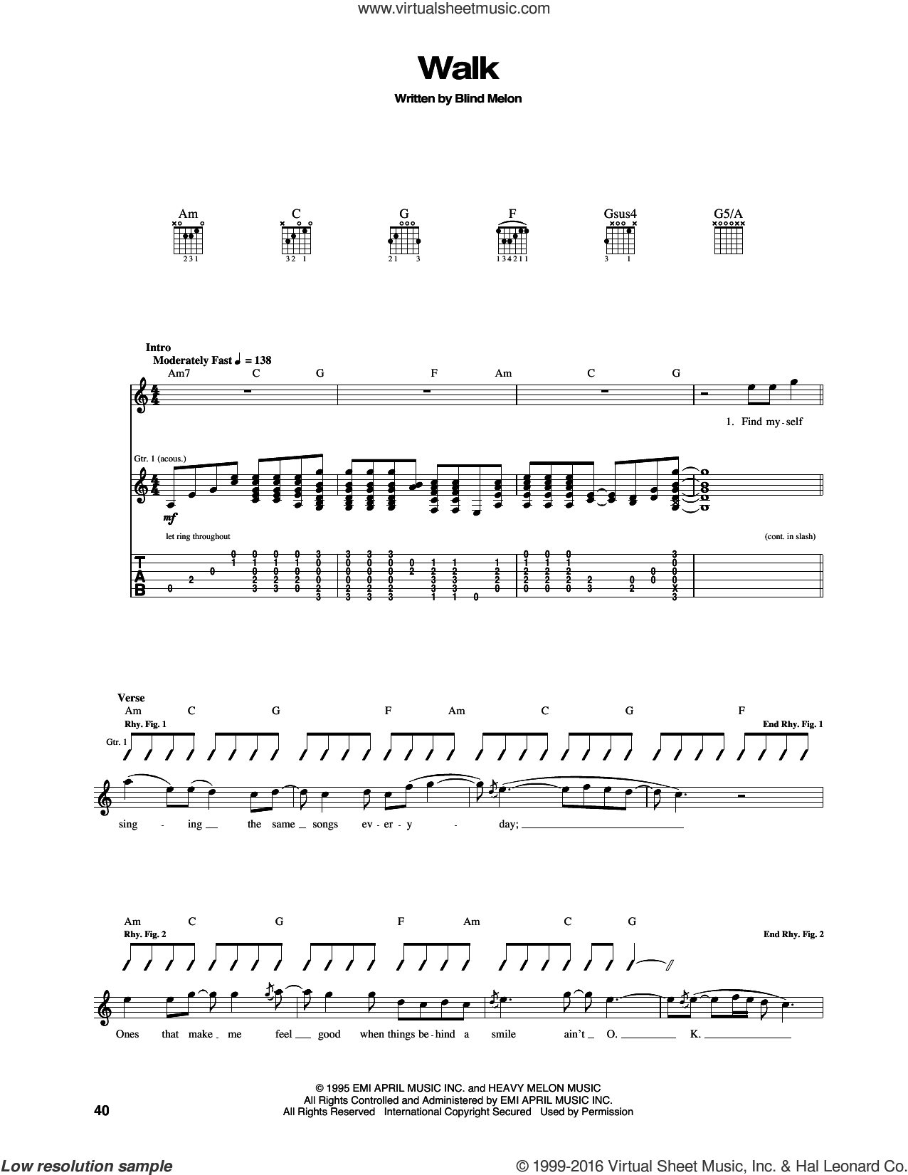 Walk sheet music for guitar (tablature) by Blind Melon. Score Image Preview.