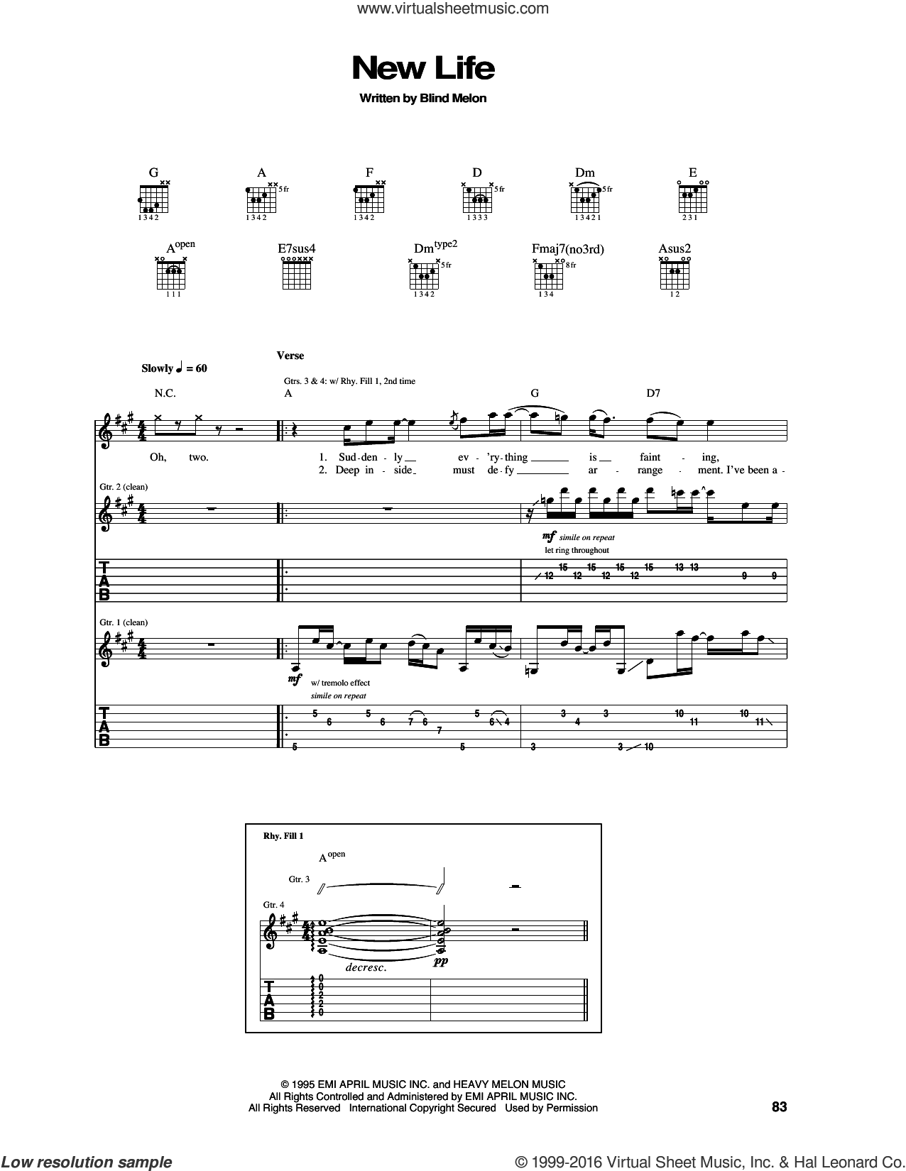 New Life sheet music for guitar (tablature) by Blind Melon, intermediate guitar (tablature). Score Image Preview.