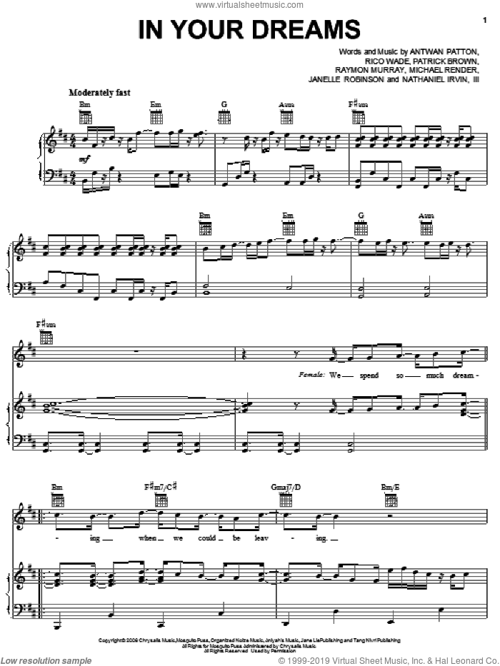 In Your Dreams sheet music for voice, piano or guitar by OutKast, Antwan Patton, Janelle Robinson, Michael Render, Nathaniel Irvin, Patrick Brown, Raymon Murray and Rico Wade, intermediate skill level