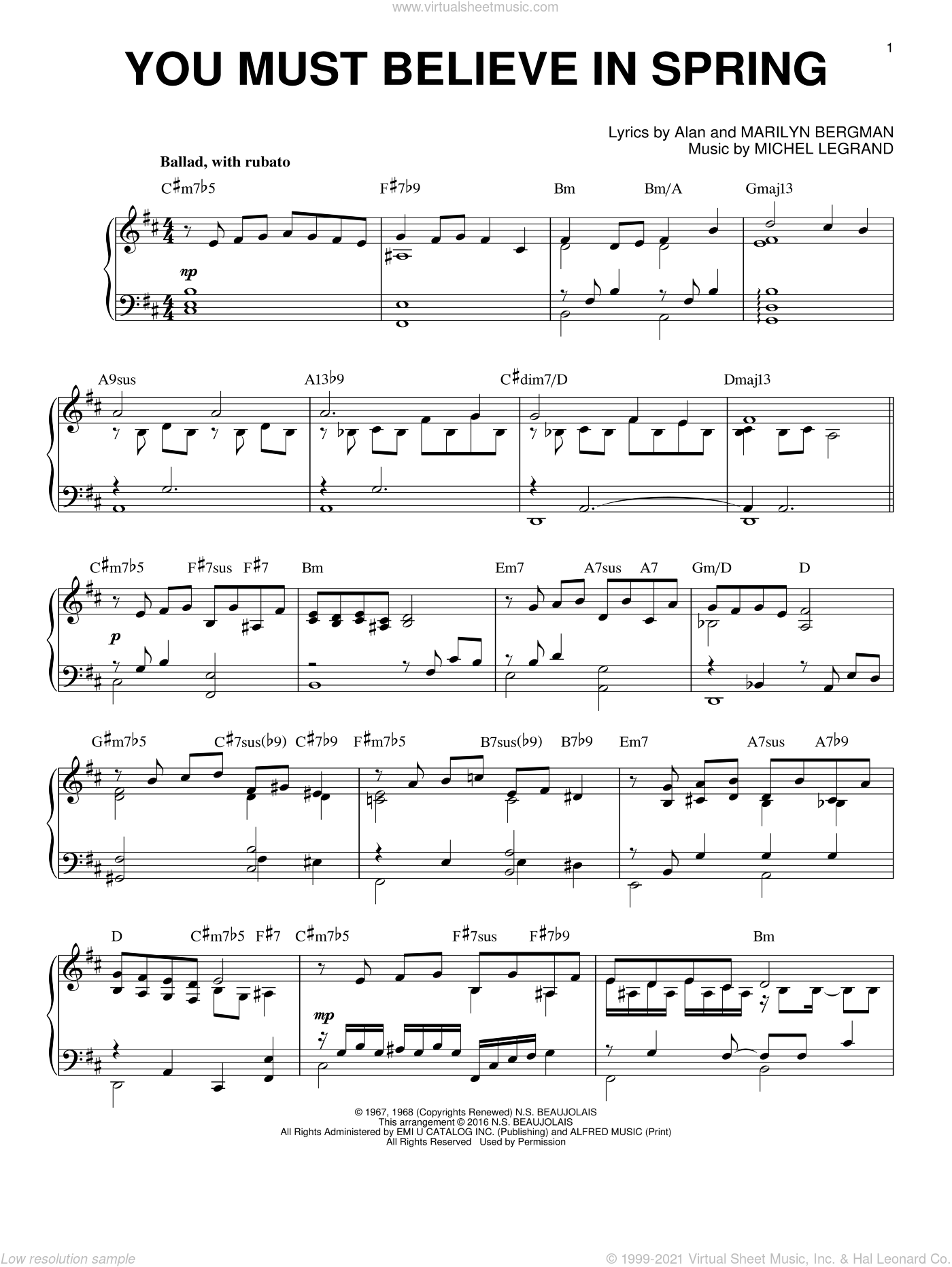 You Must Believe In Spring sheet music for piano solo by Michel LeGrand, Alan Bergman and Marilyn Bergman, intermediate skill level