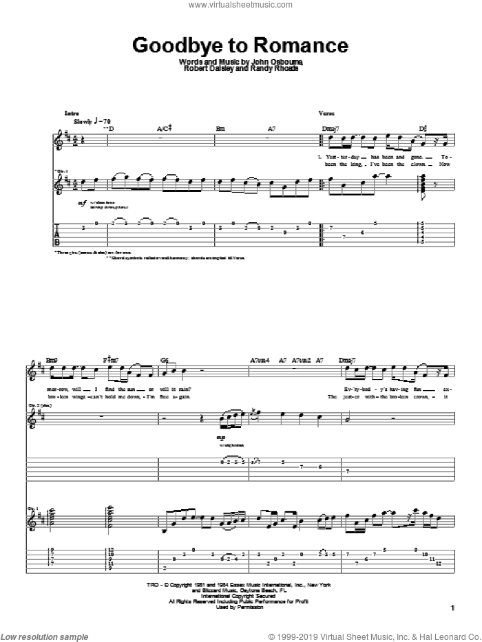 Goodbye To Romance sheet music for guitar (tablature) by Bob Daisley, Ozzy Osbourne and Randy Rhoads. Score Image Preview.