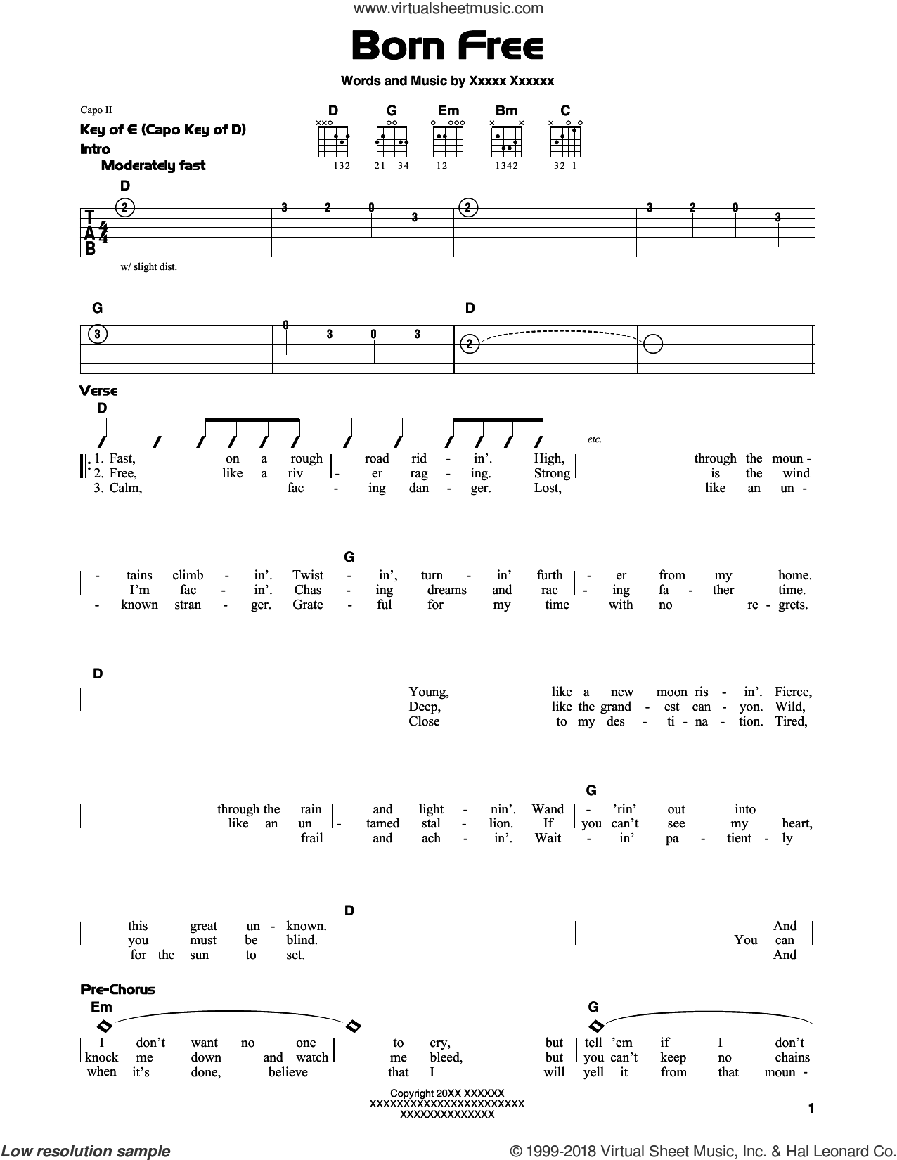 Born Free sheet music for guitar solo (lead sheet) by Robert Ritchie and Kid Rock. Score Image Preview.