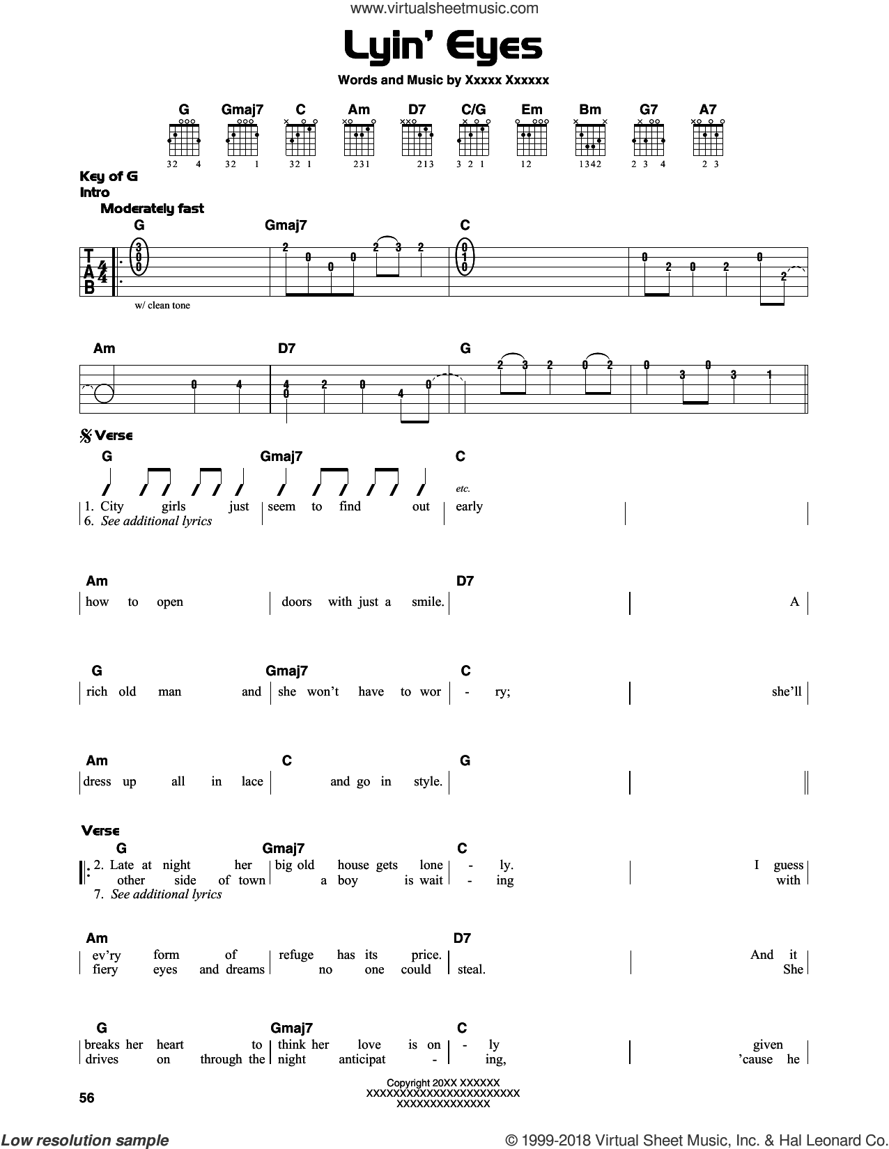 Lyin' Eyes sheet music for guitar solo (lead sheet) by Eagles, Don Henley and Glenn Frey. Score Image Preview.