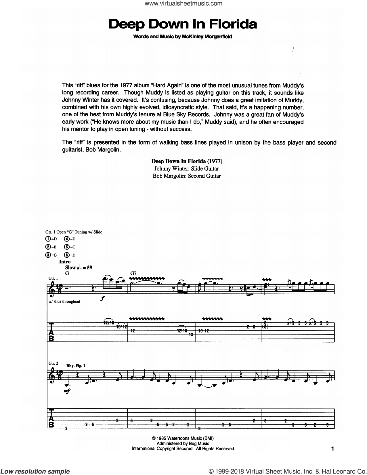 Deep Down In Florida sheet music for guitar (tablature) by Muddy Waters and McKinley Morganfield. Score Image Preview.