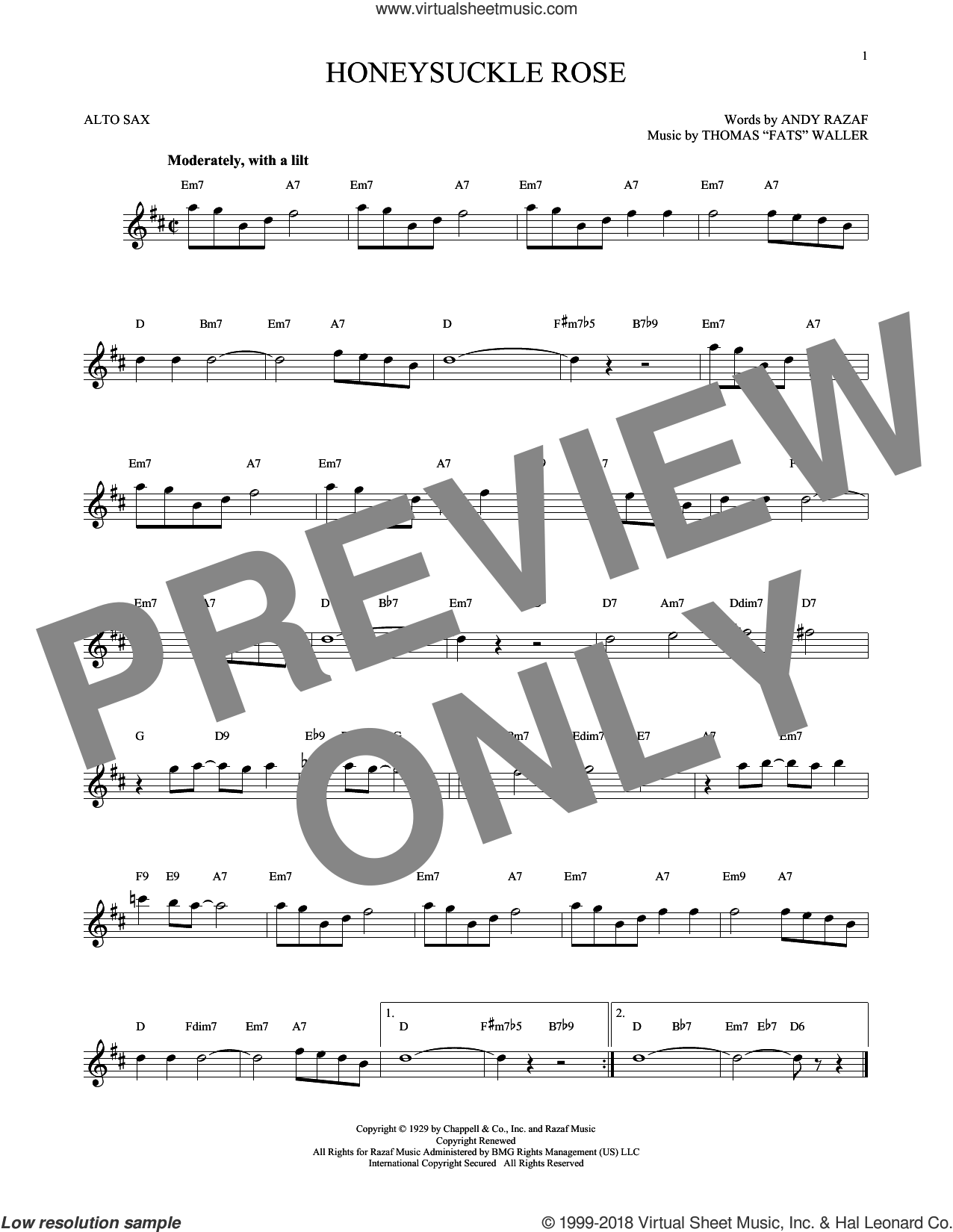 Honeysuckle Rose sheet music for alto saxophone solo by Andy Razaf, Django Reinhardt and Thomas Waller, intermediate skill level