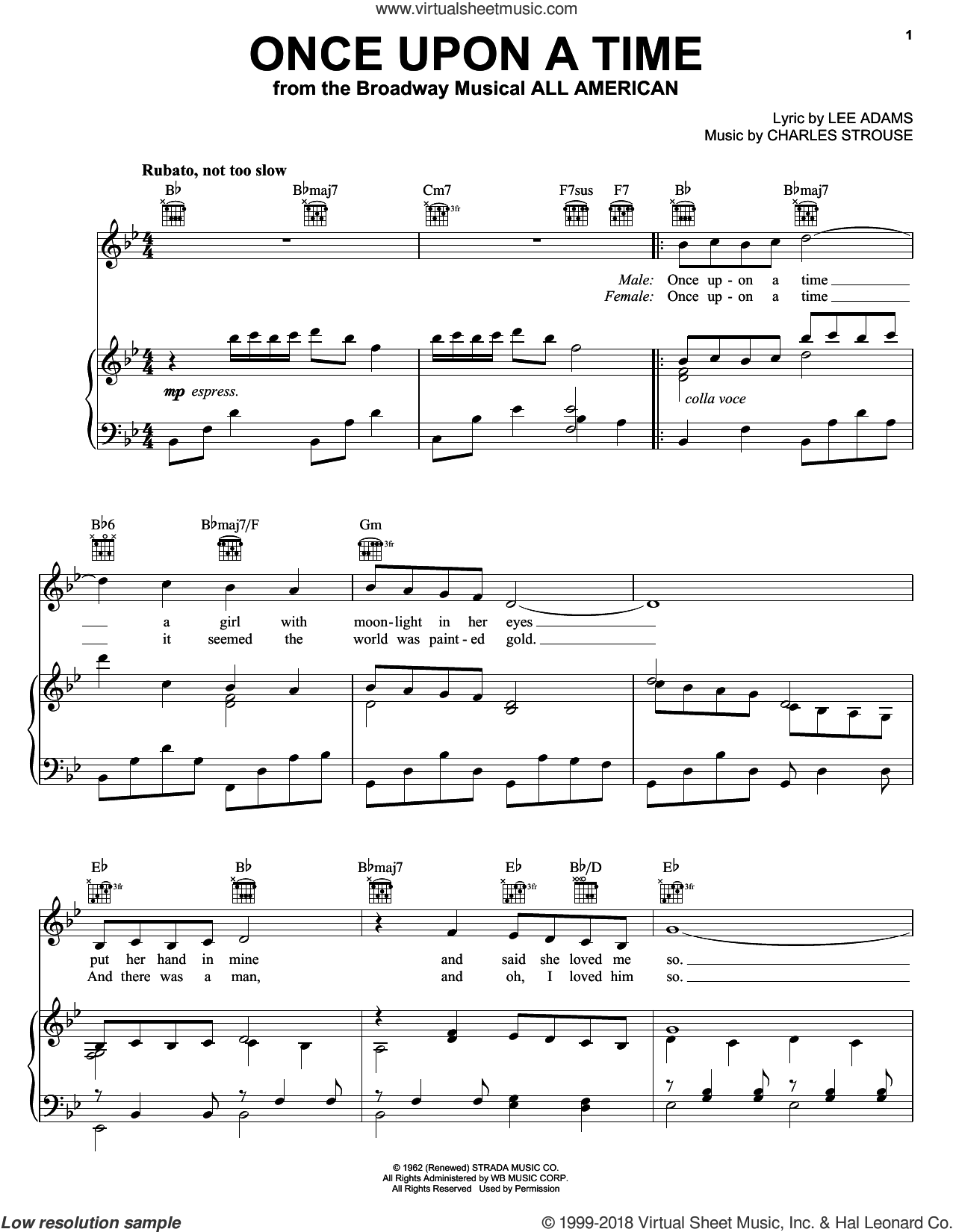 Once Upon A Time sheet music for voice, piano or guitar by Charles Strouse and Lee Adams, intermediate skill level