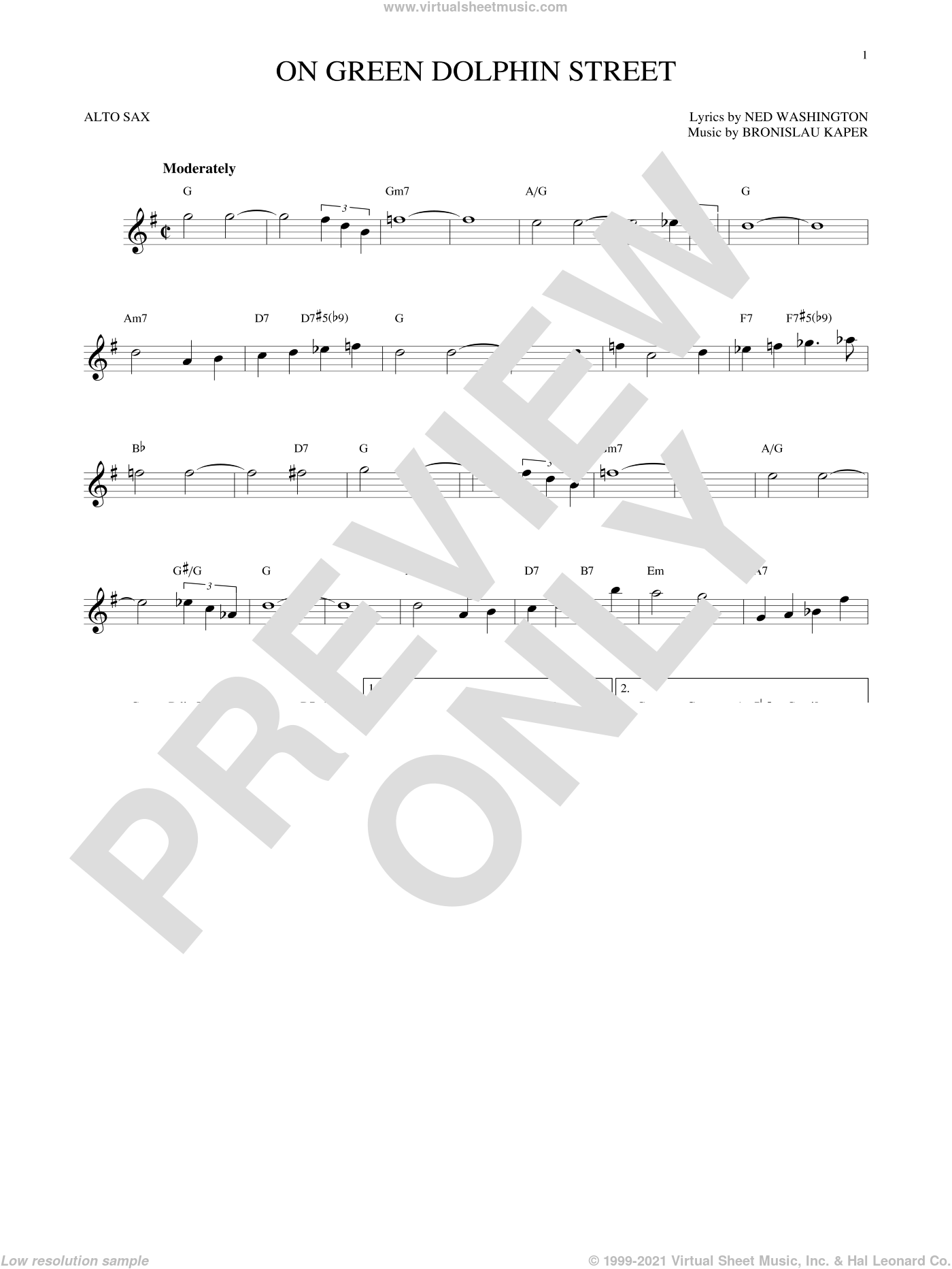On Green Dolphin Street sheet music for alto saxophone solo by Bronislau Kaper and Ned Washington. Score Image Preview.