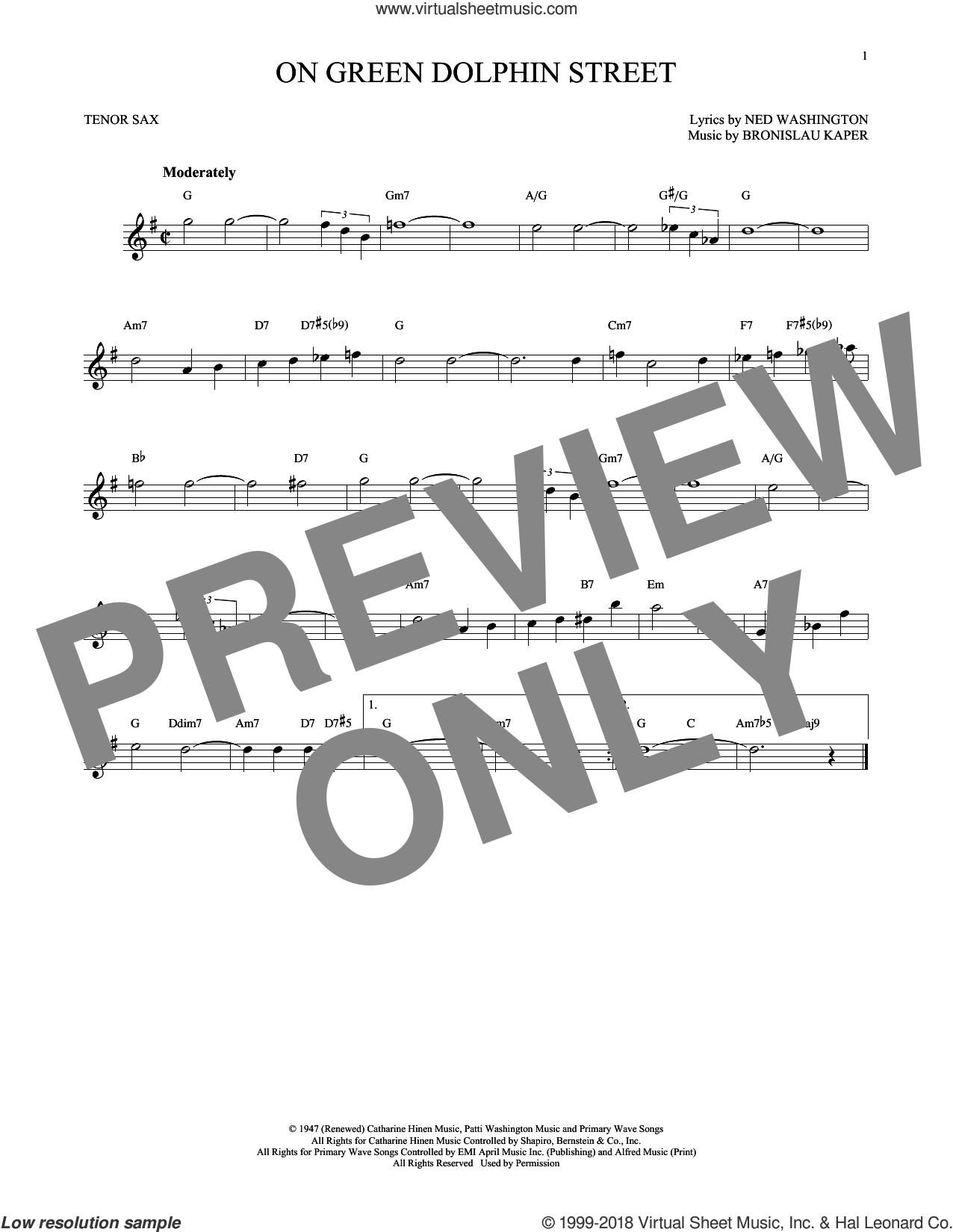 On Green Dolphin Street sheet music for tenor saxophone solo by Ned Washington and Bronislau Kaper. Score Image Preview.
