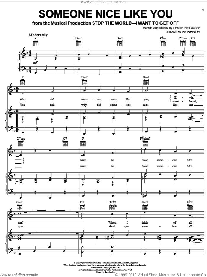 Someone Nice Like You sheet music for voice, piano or guitar by Leslie Bricusse and Anthony Newley, intermediate skill level