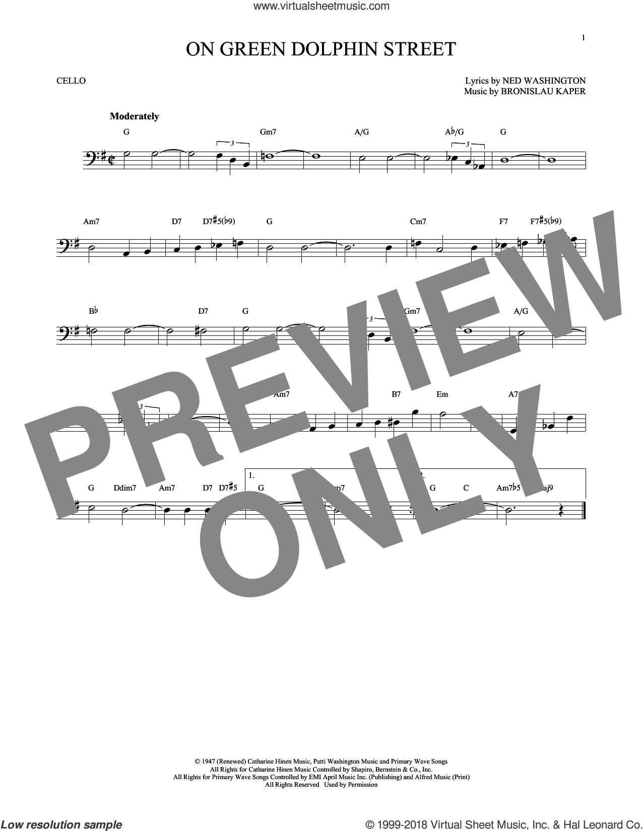 On Green Dolphin Street sheet music for cello solo by Ned Washington and Bronislau Kaper, intermediate skill level