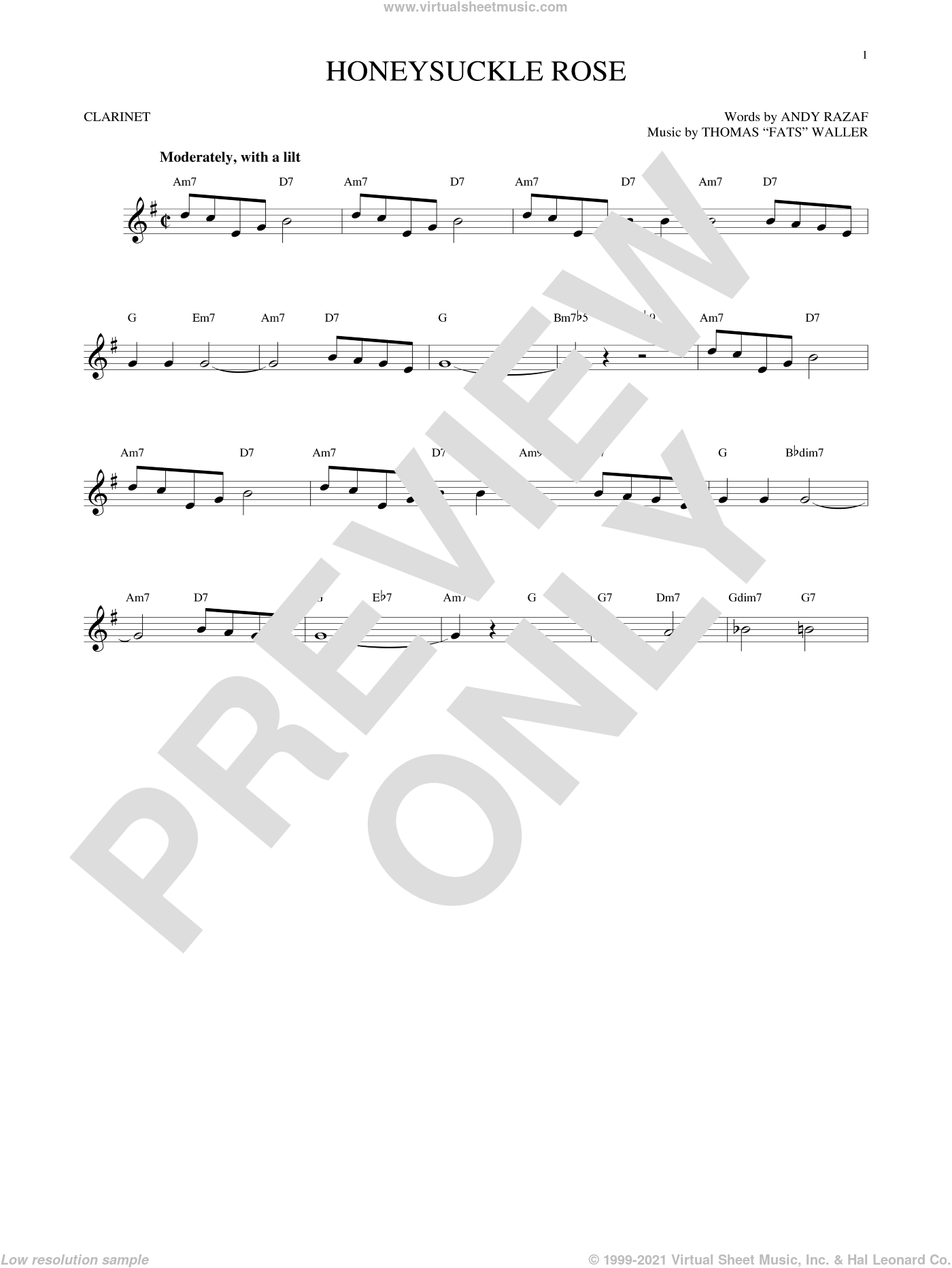 Honeysuckle Rose sheet music for clarinet solo by Andy Razaf, Django Reinhardt and Thomas Waller. Score Image Preview.