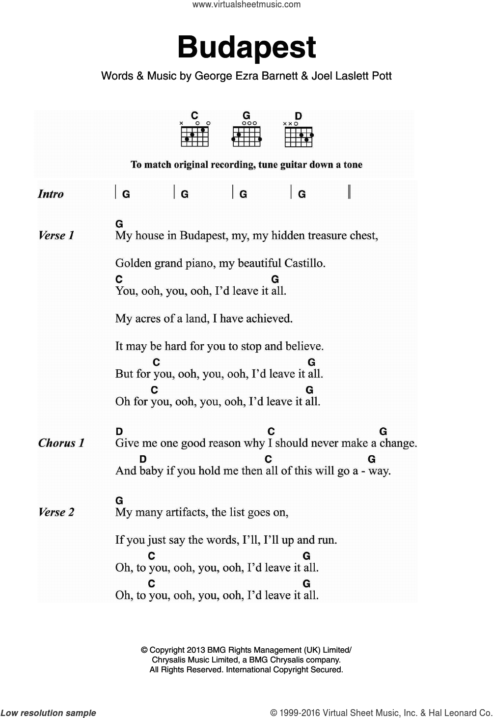 Budapest sheet music for guitar (chords) by George Ezra, intermediate guitar (chords). Score Image Preview.